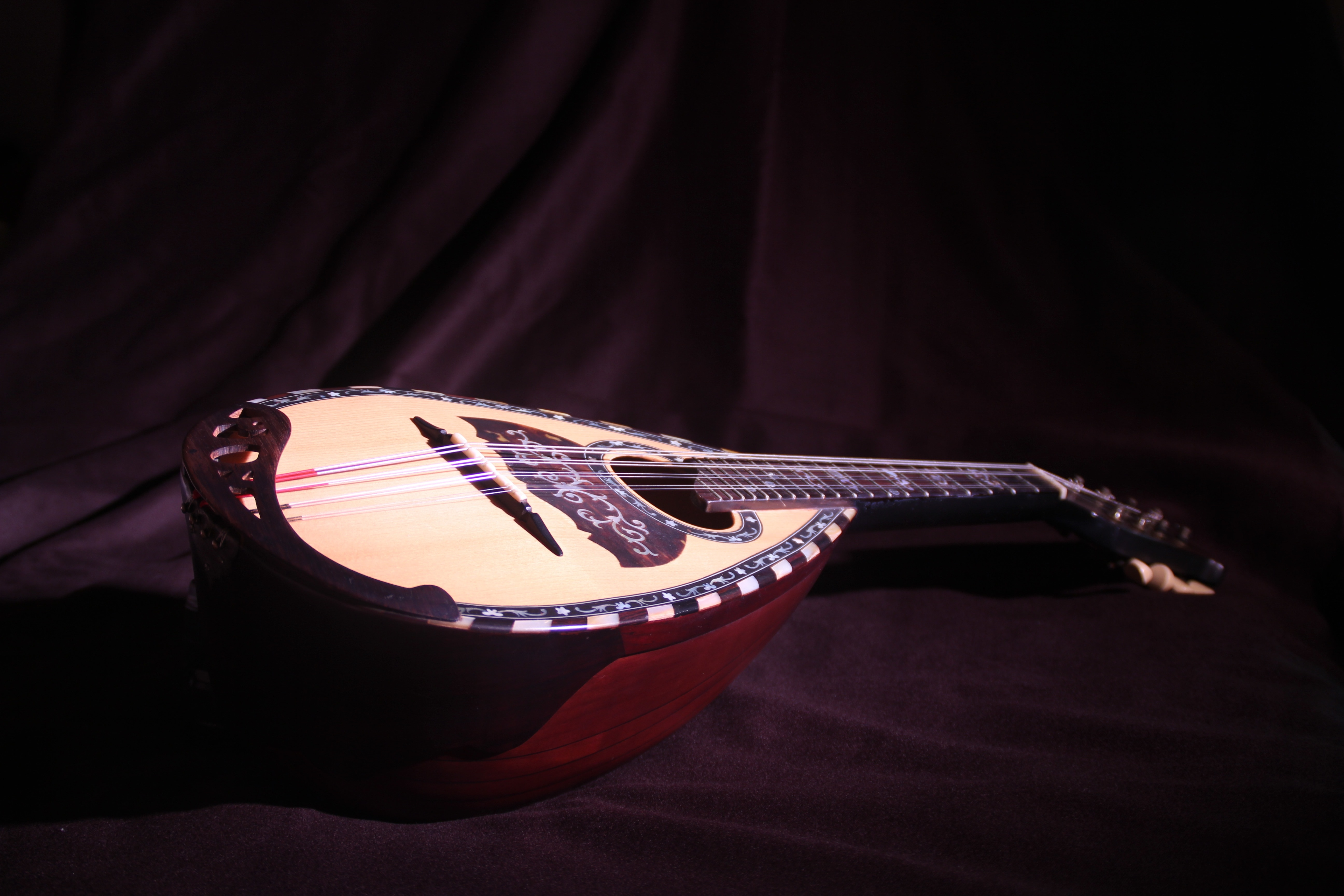 brown and tan wooden saz free image