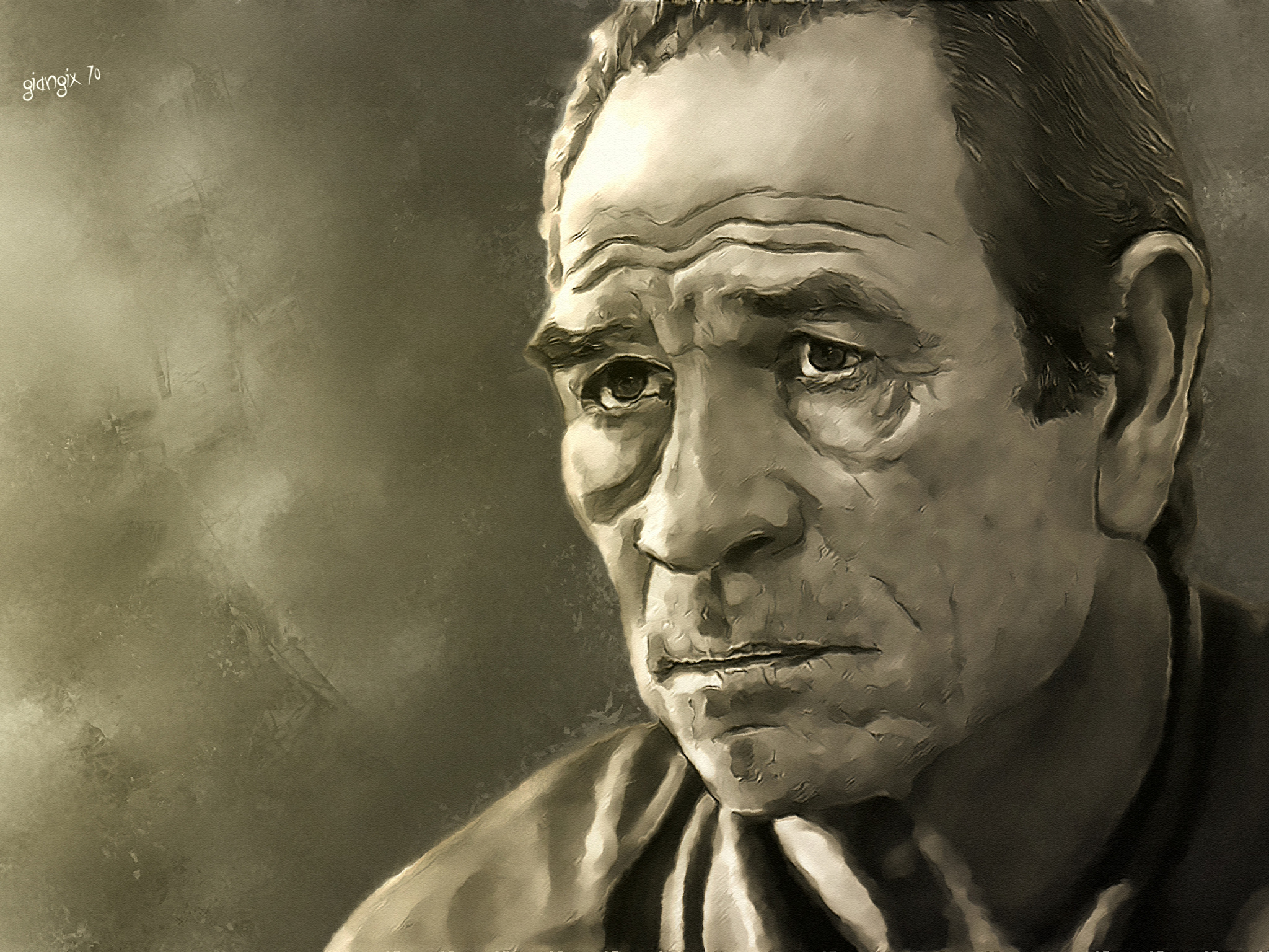 Pictures Man Tommy Lee Jones Face Celebrities Painting Art 2048x1536