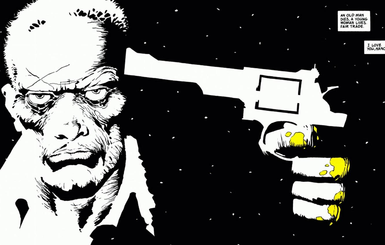 Wallpaper white, gun, black, minimalism, Sin City, quote, comic, Sin ...