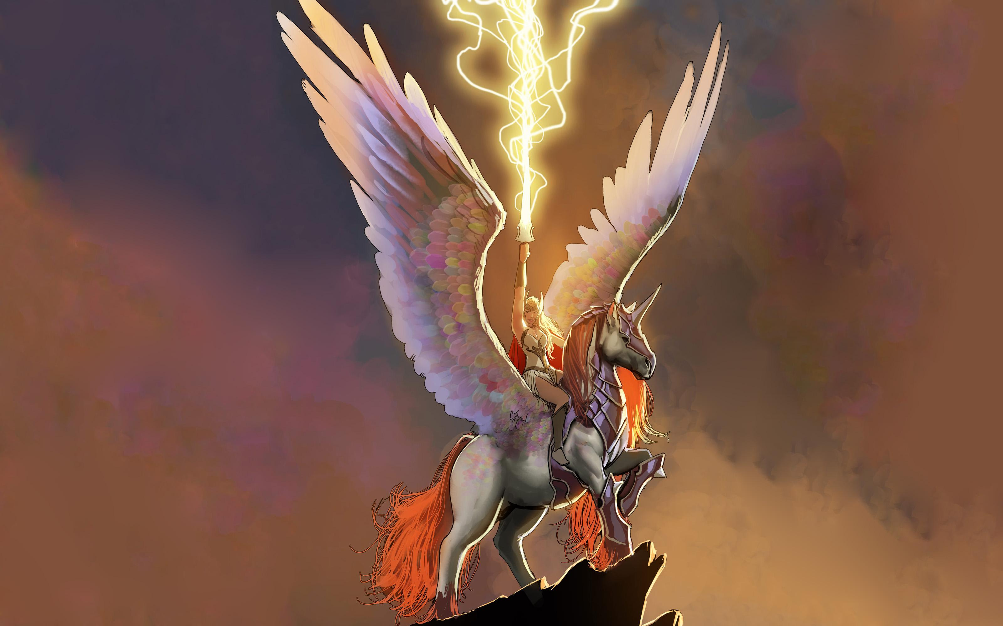 Valkyrie Marvel Pegasus Lightning Wings Drawing wallpapers