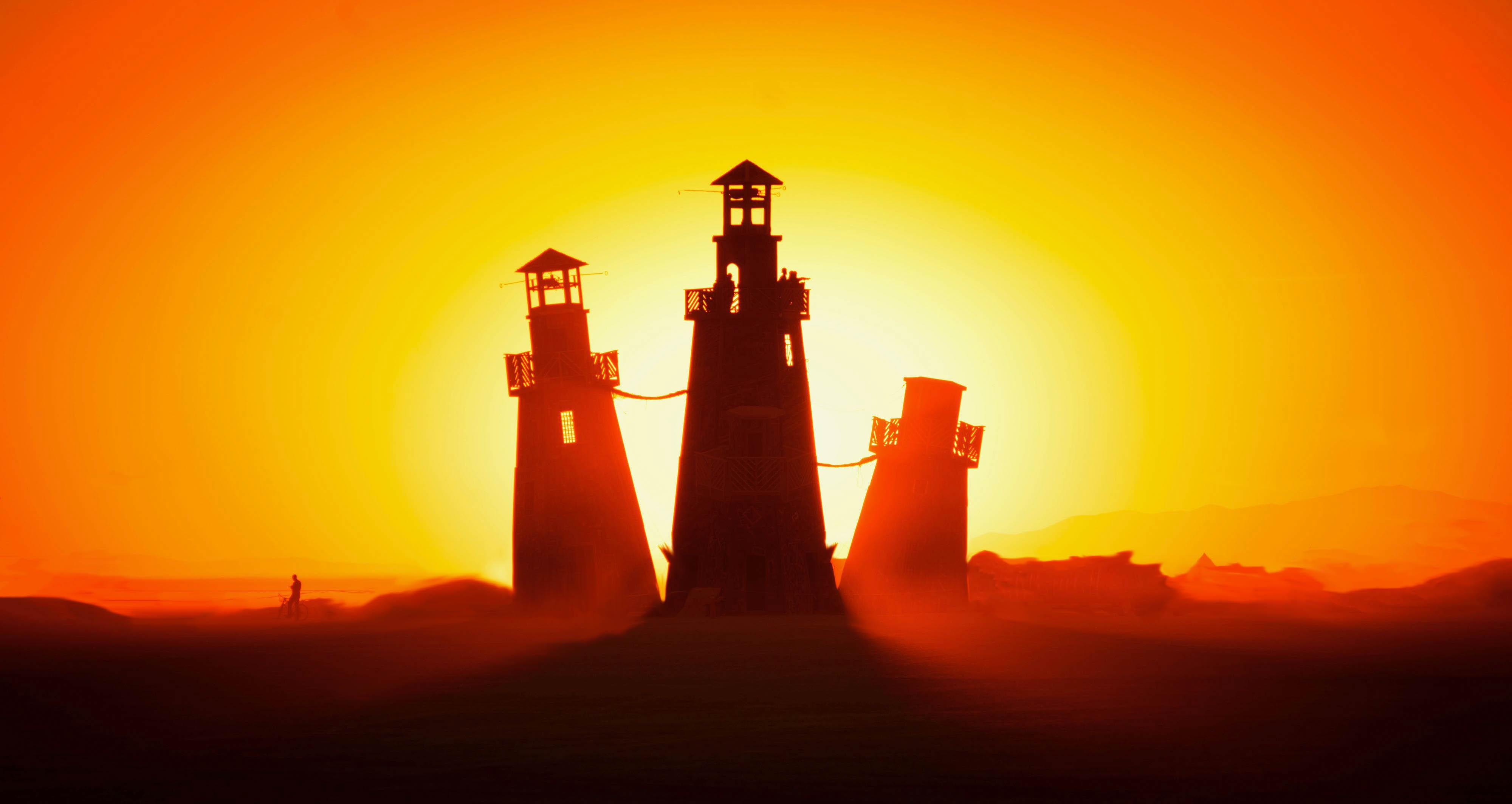 Wallpapers Lighthouses, Burning Man, Nevada, 4K, Photography,