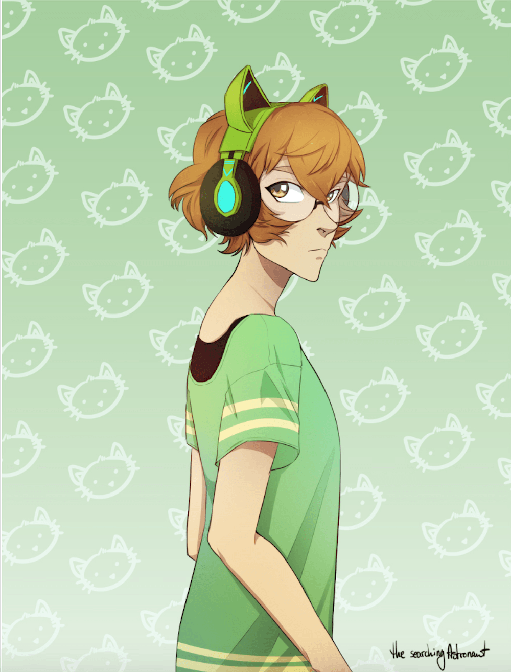 Pidge behind a green kitty cat backgrounds from Voltron Legendary
