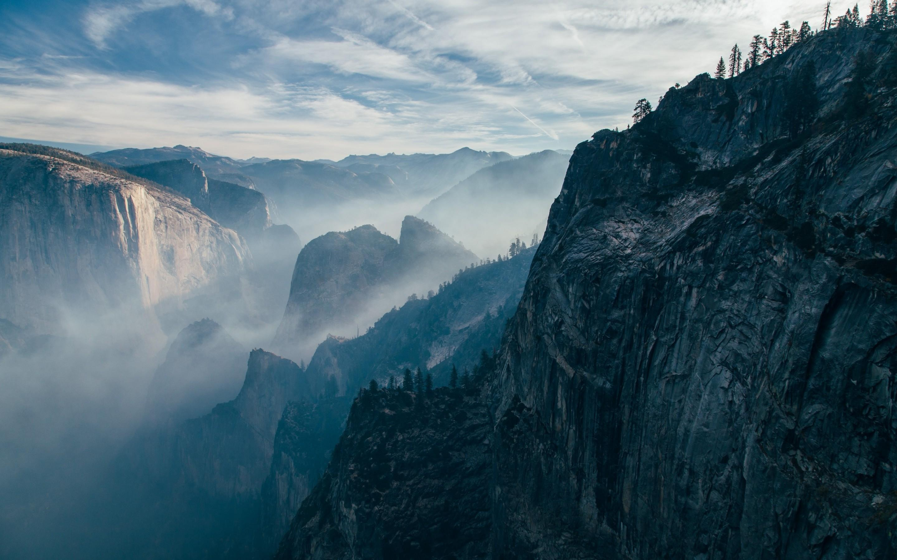 Download 2880x1800 Mountains, Cliff, Sky, Mist Wallpapers for ...