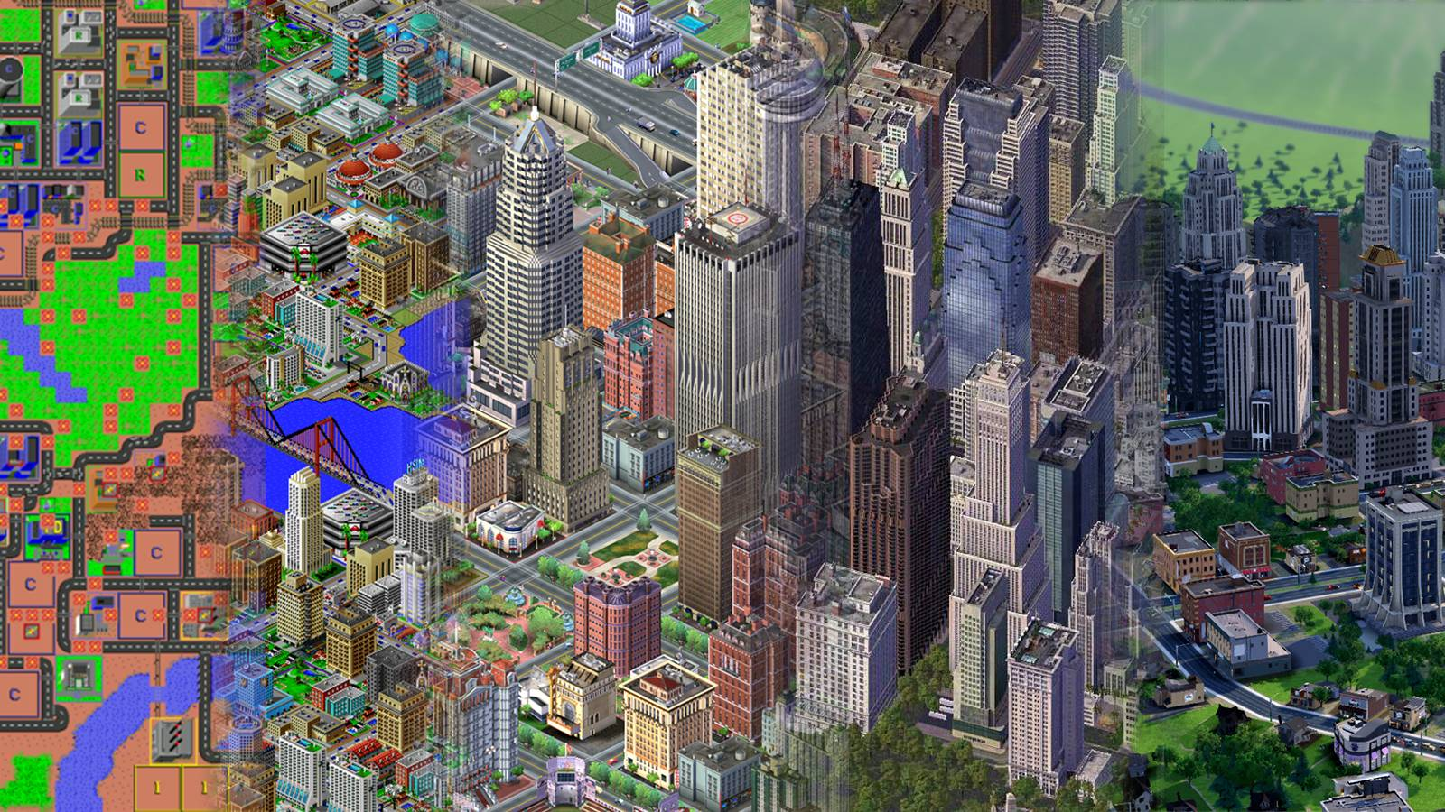 I made a wallpapers showing the Evolution of SimCity : SimCity