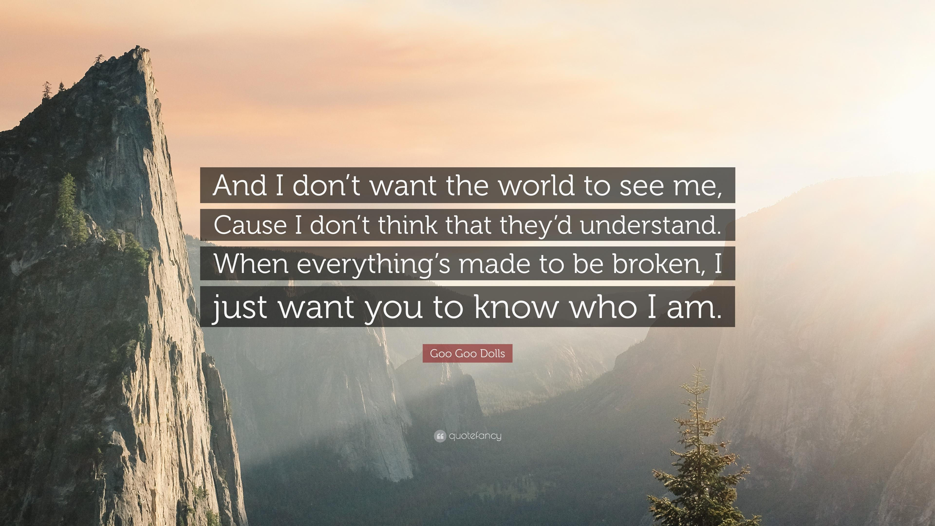 "Goo Goo Dolls Quote: ""And I don't want the world to see me, Cause I"
