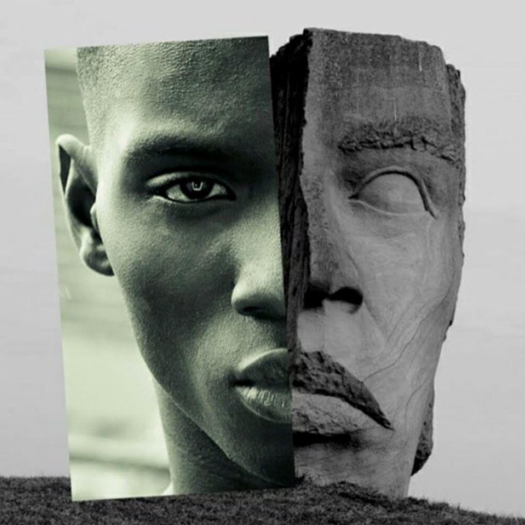 Adonis Bosso in face of two collage by @naropinosa