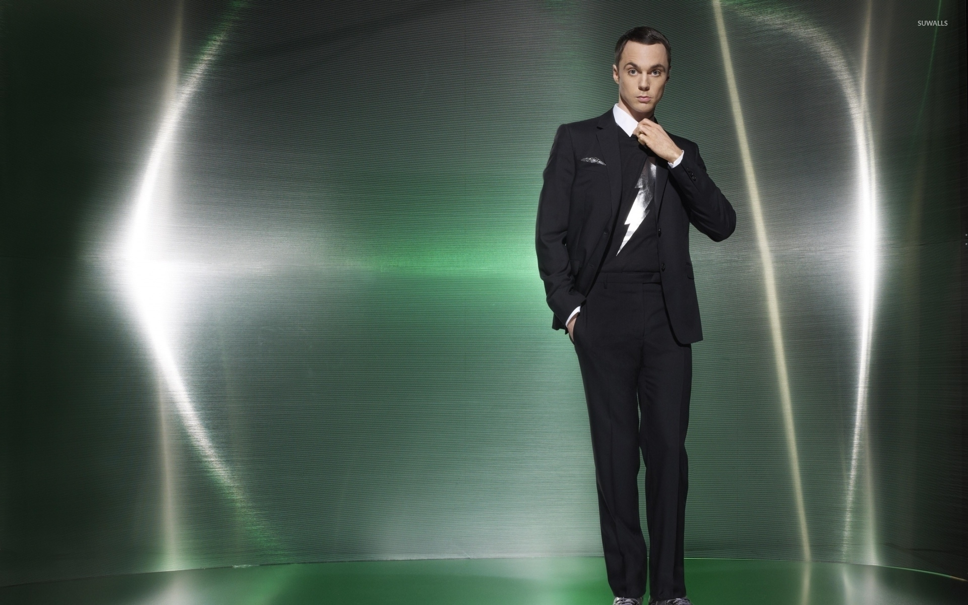 Jim Parsons in a black suit and a hand in his pocket wallpaper ...