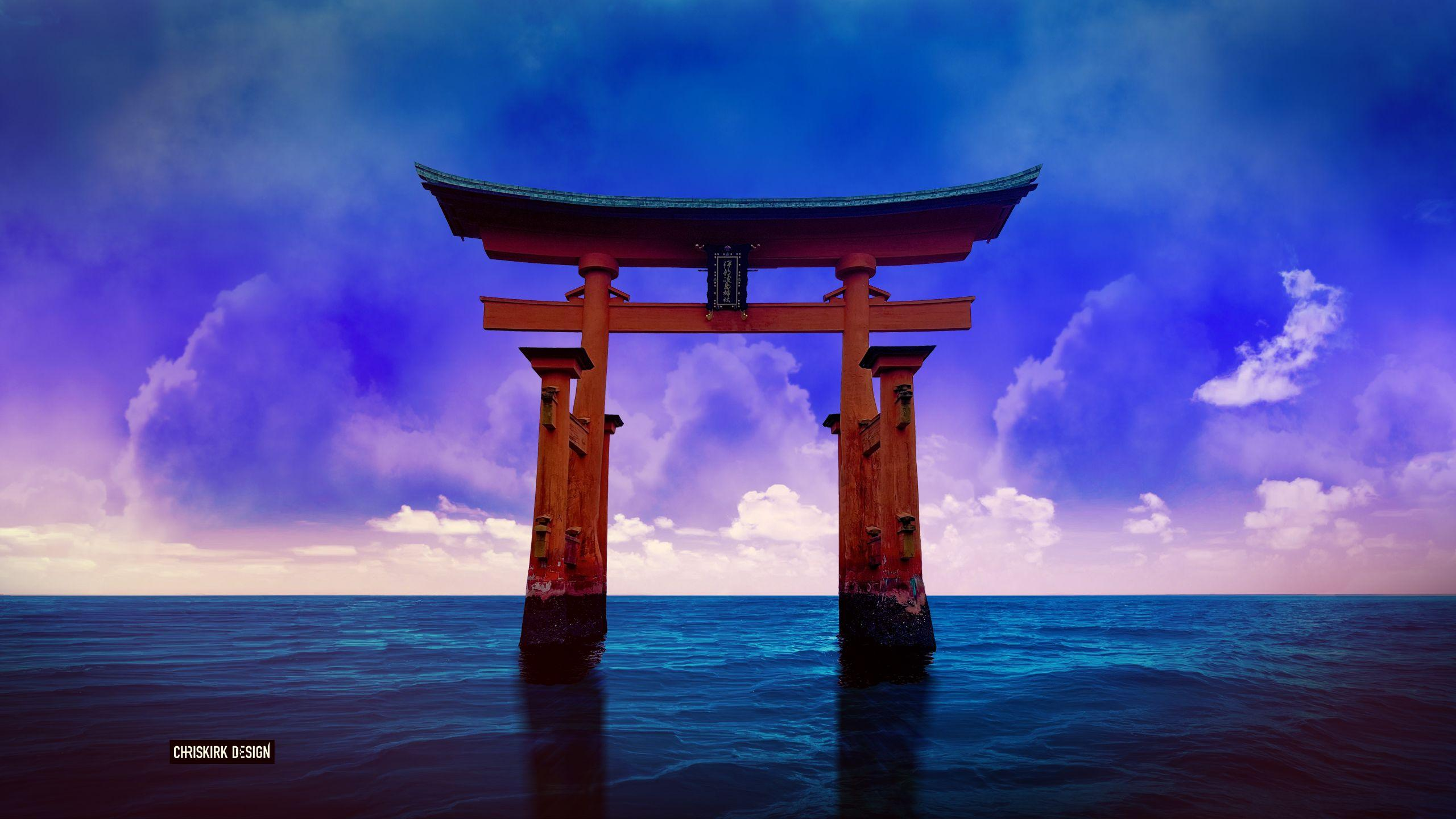 A Torii Gate in the Japanese Sea HD Wallpapers