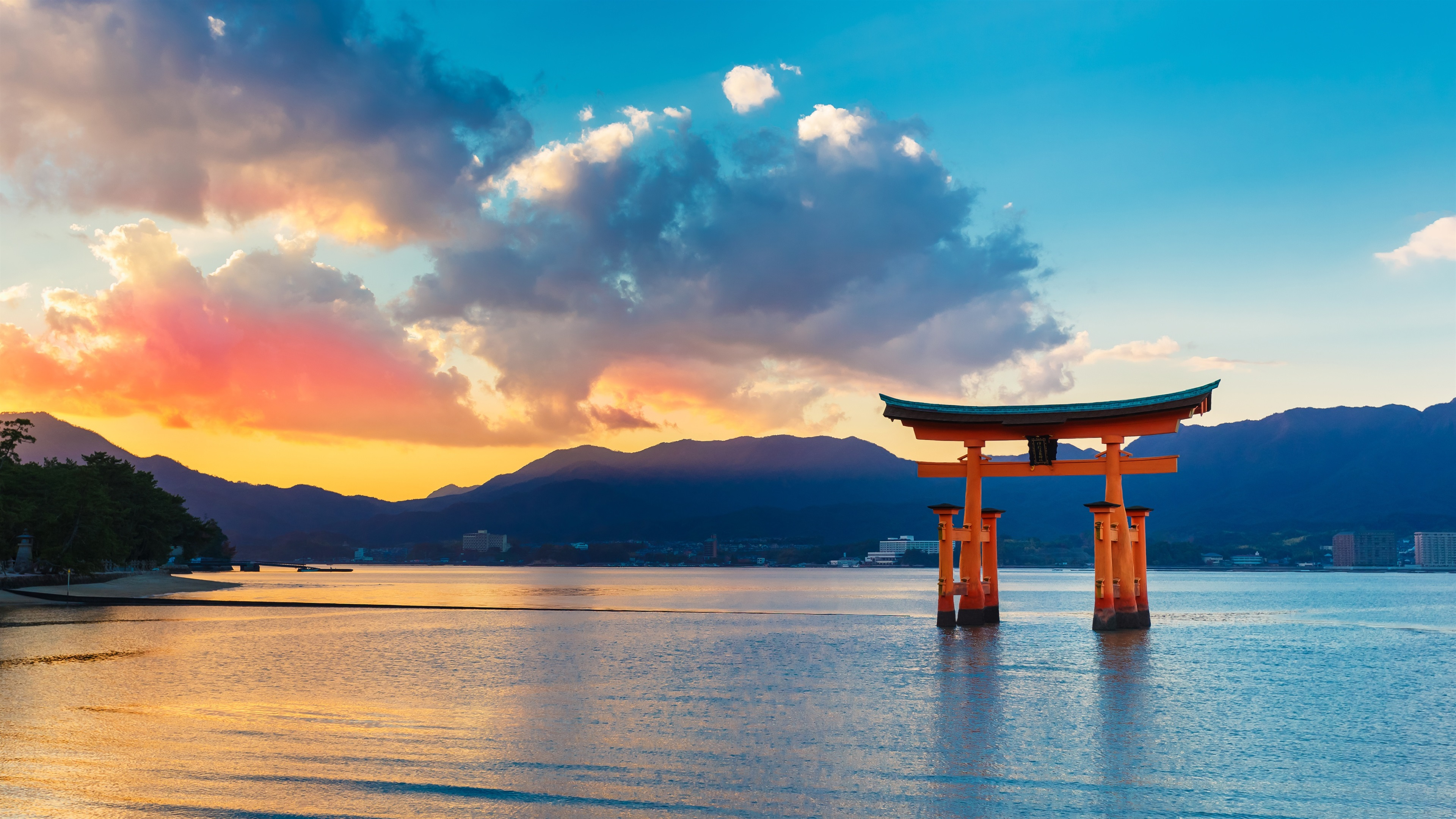 Wallpapers Torii Gate, sea, sunset, Japan 3840x2160 UHD 4K Picture, Image