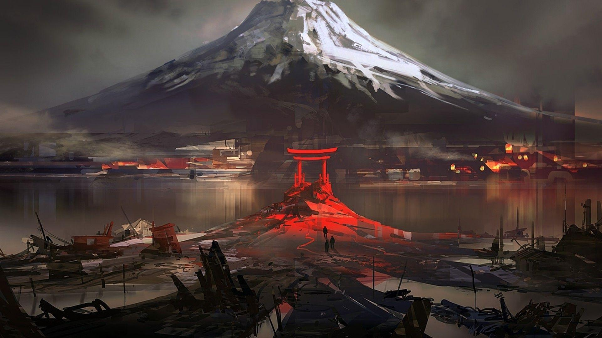 Mount Fuji and a Torii gate Wallpapers