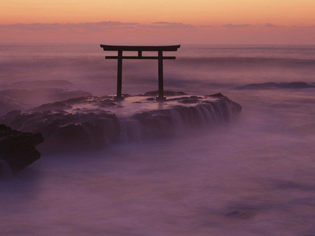 Torii Gate Oarai Coast Ibaraki Kanto Japan Wallpapers