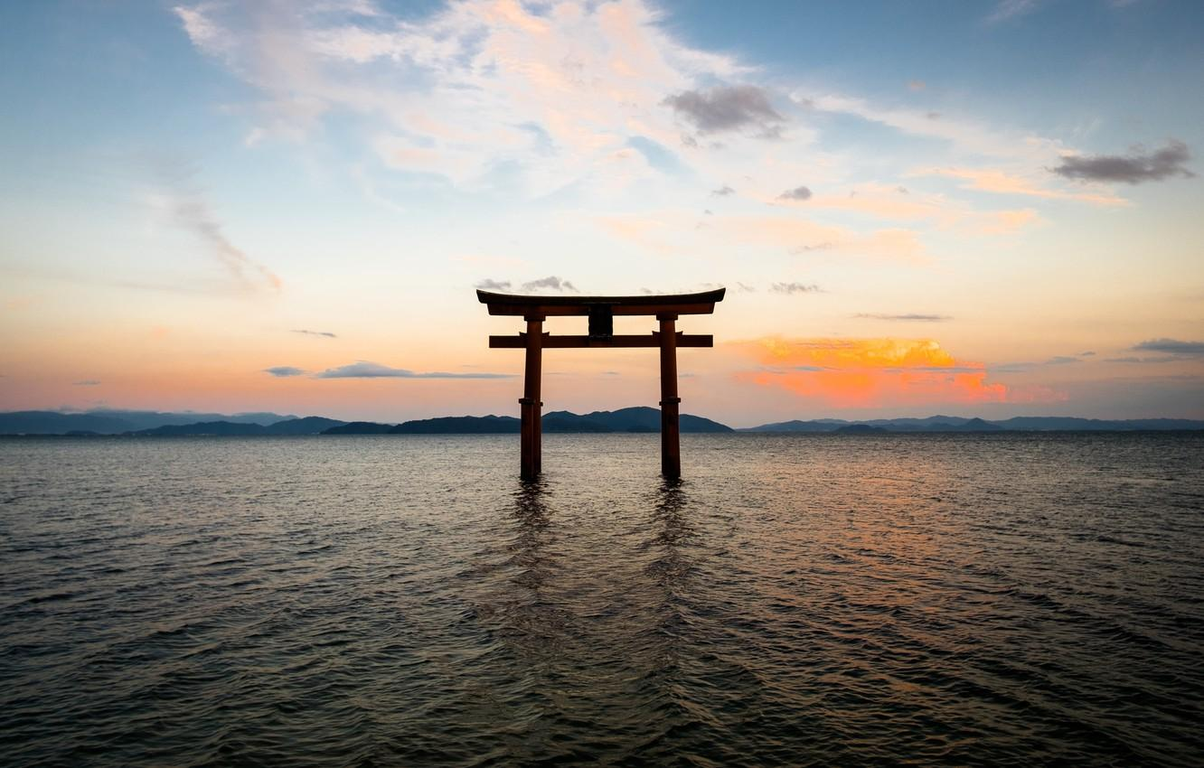 Wallpapers the sky, landscape, the ocean, gate, Japan, Japan, torii