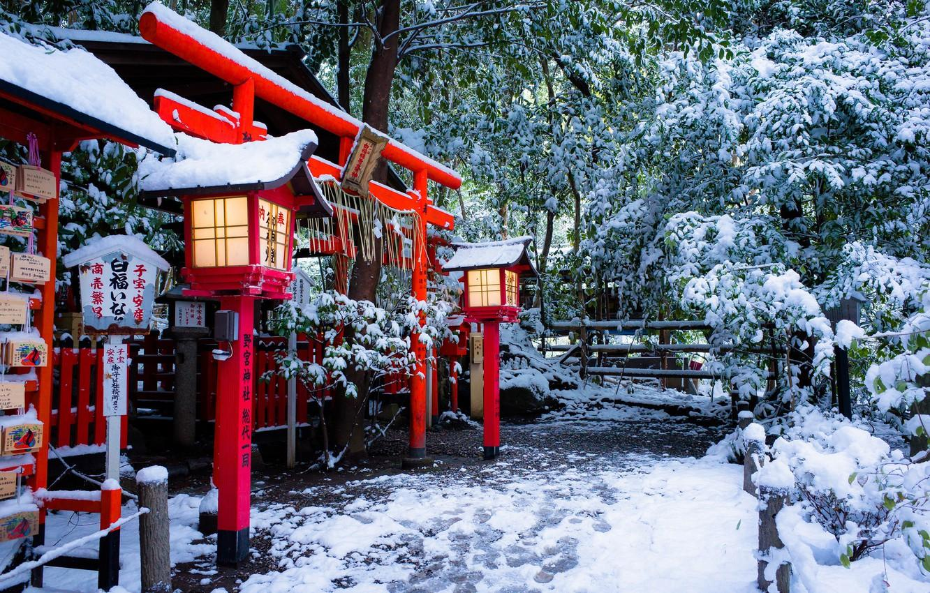 Wallpapers winter, snow, Japan, lights, temple, Japan, the gates