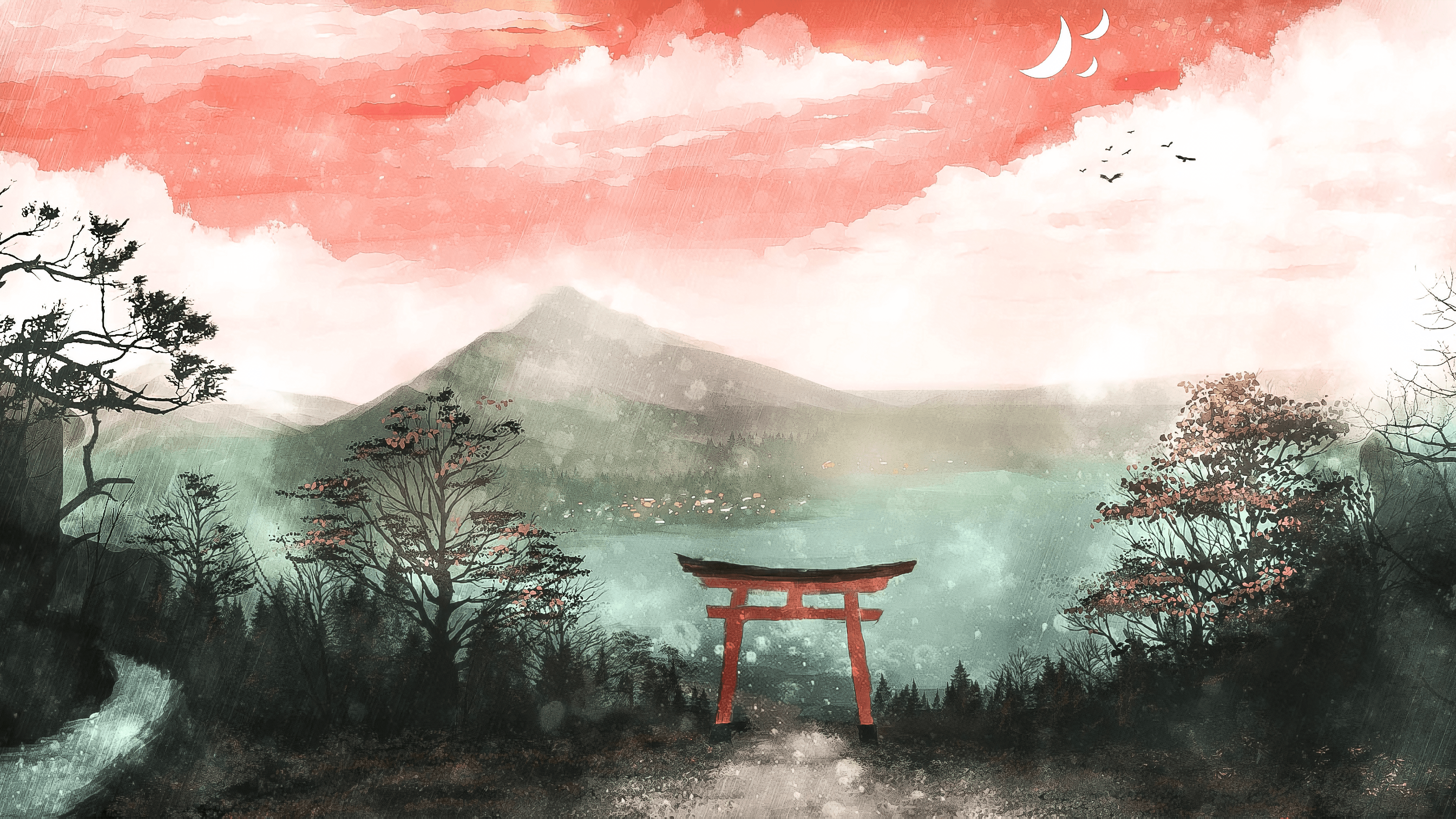Torii, Gate, Painting, Art, Plant resized by Ze Robot
