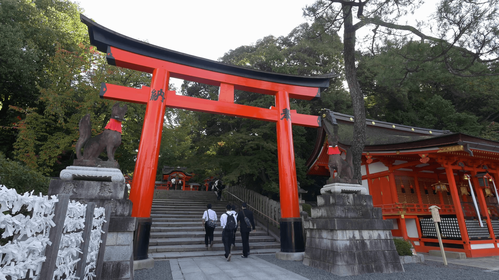 High school students pass a torii gate at Fushimi Inari Taisha, a