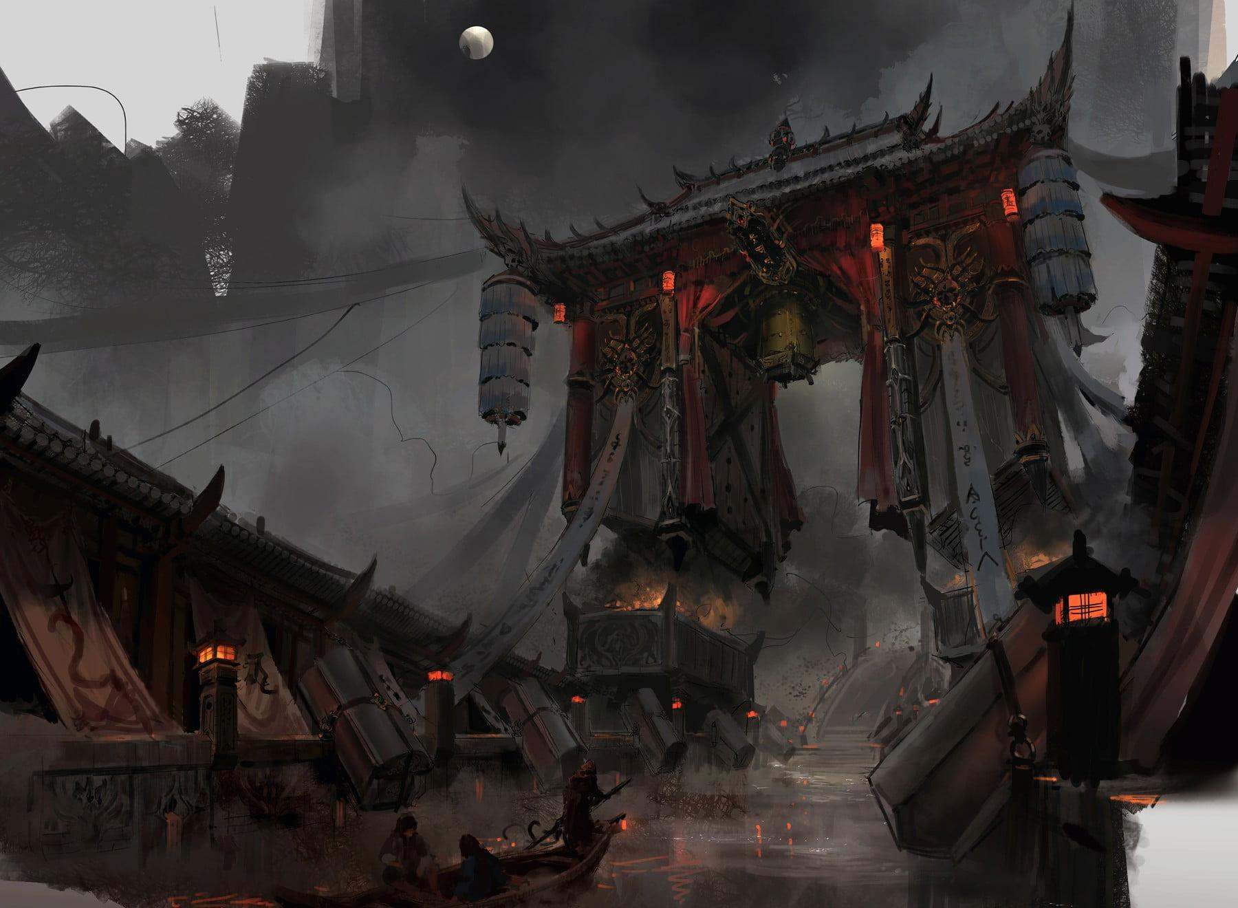 Torii gate digital wallpaper, artwork, digital art HD wallpapers