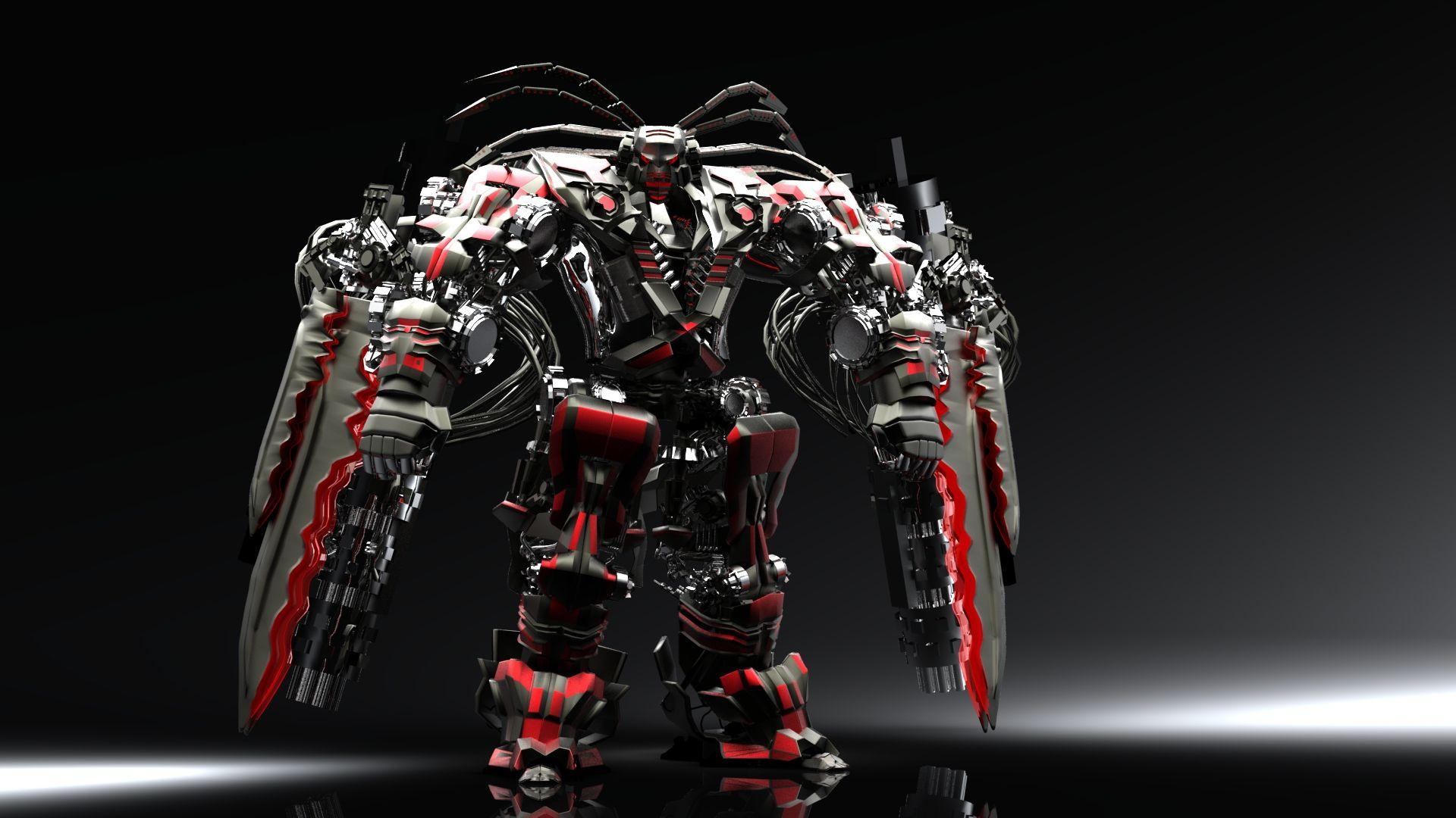 Red Black Robot Wallpapers 3D For Desktop Free Download