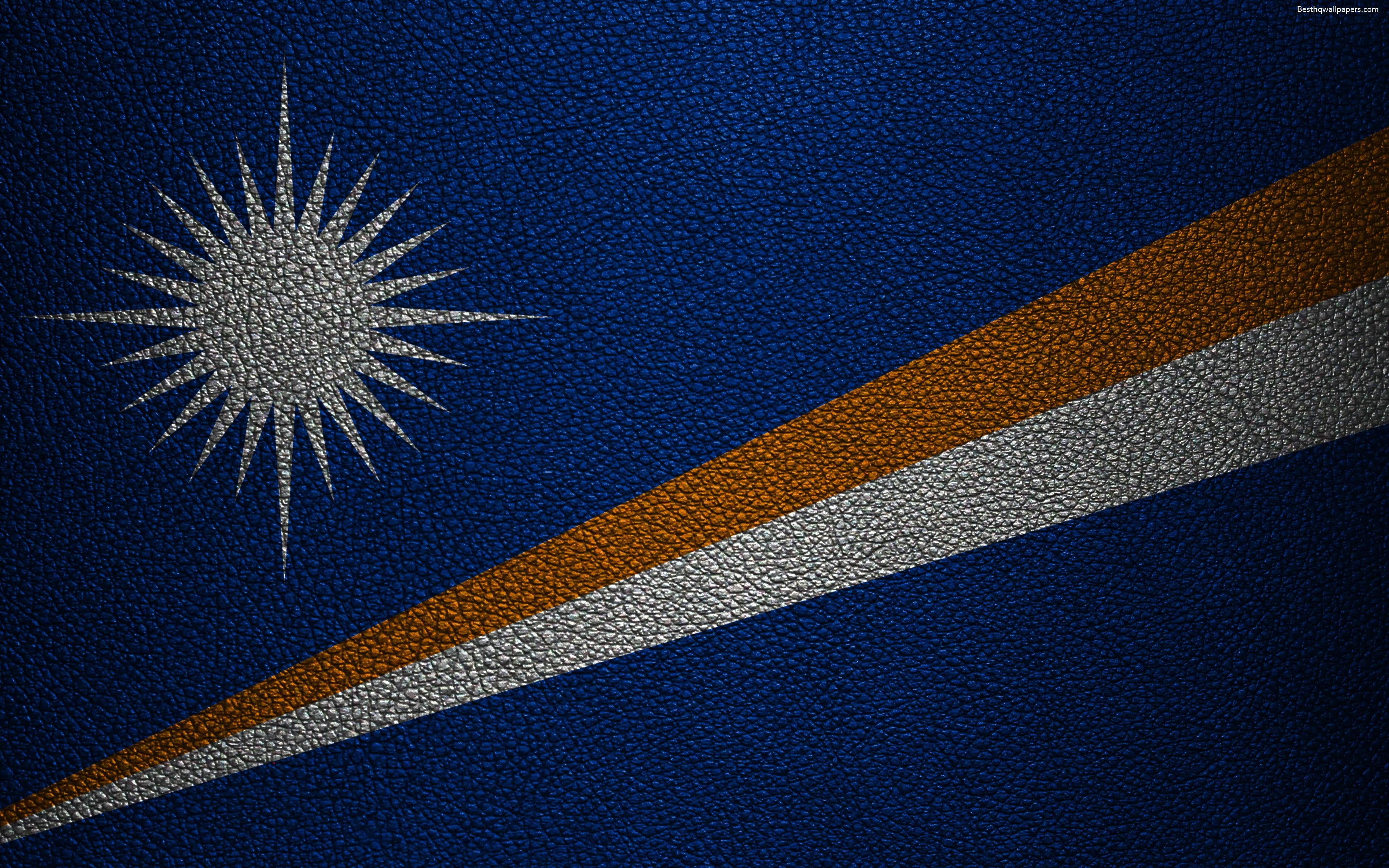 Download wallpapers Flag of the Marshall Islands, 4k, leather ...