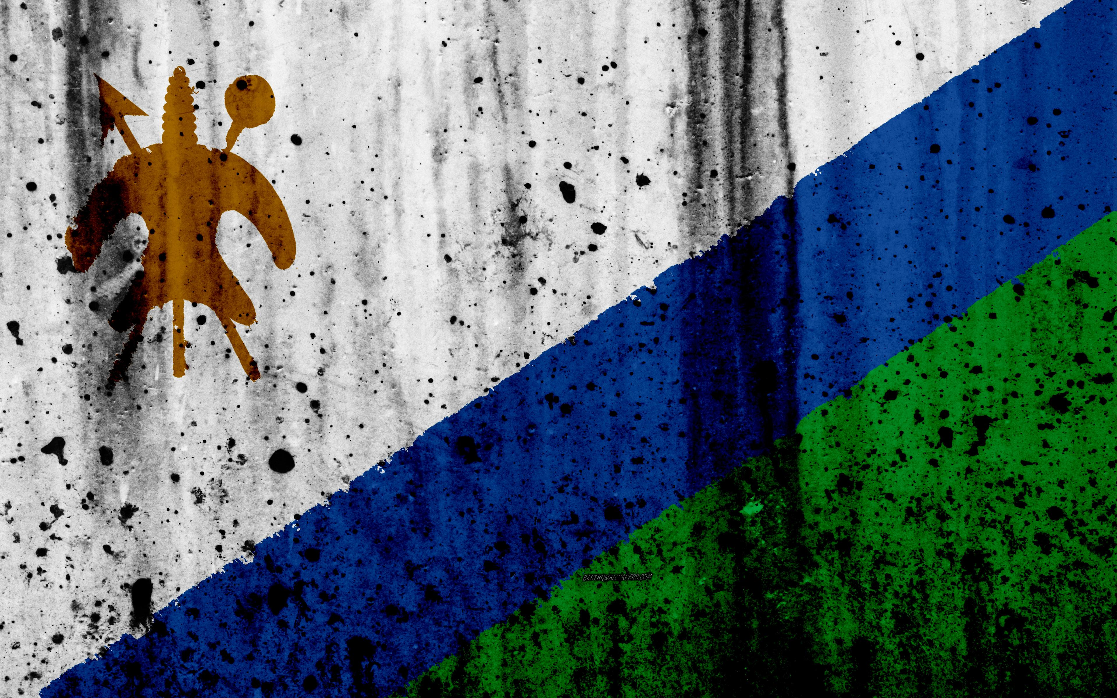 Download wallpapers Lesotho flag, 4k, grunge, flag of Lesotho