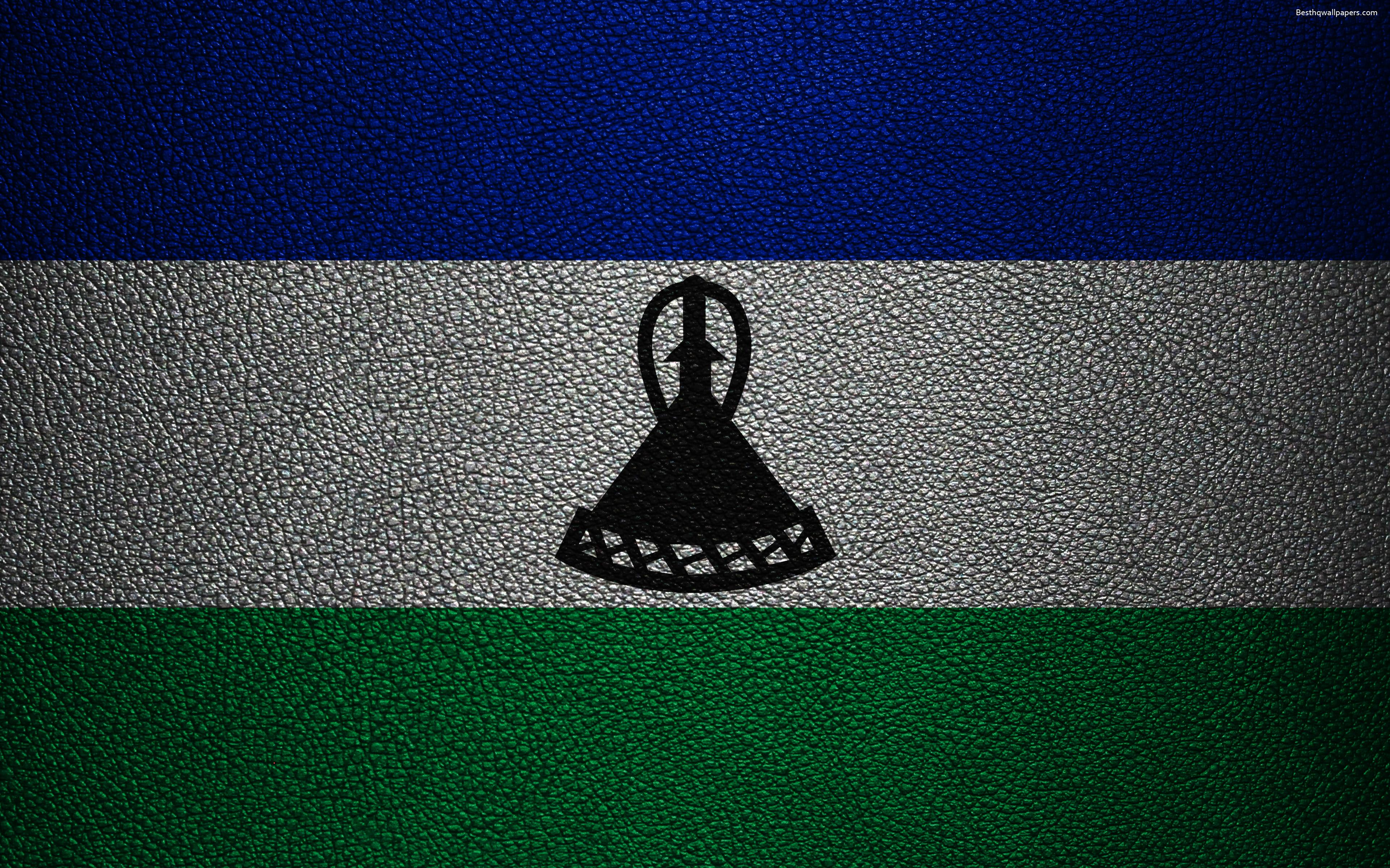 Download wallpapers Flag of Lesotho, 4k, leather texture, Africa