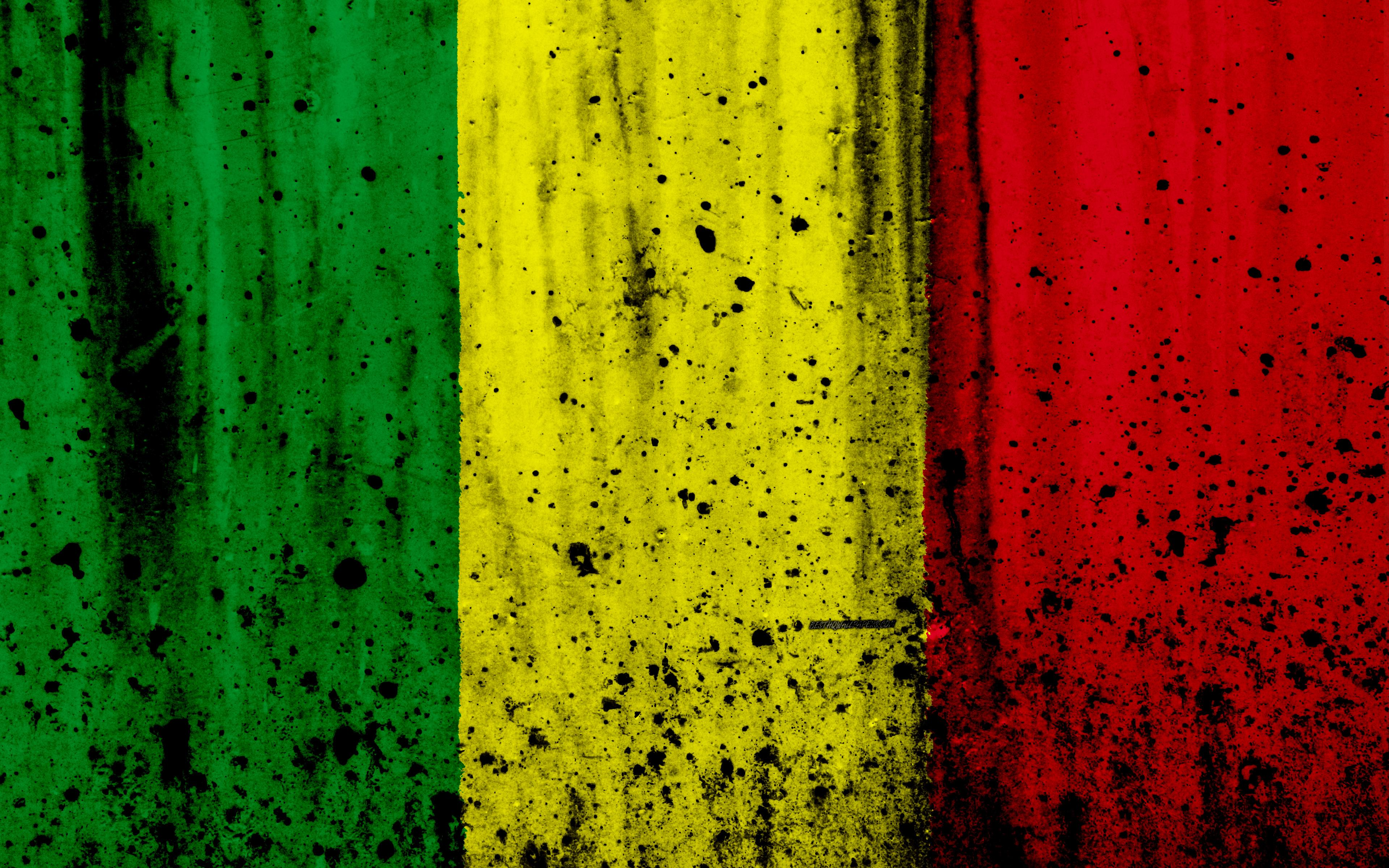 Download wallpapers Malian flag, 4k, grunge, flag of Mali, Africa