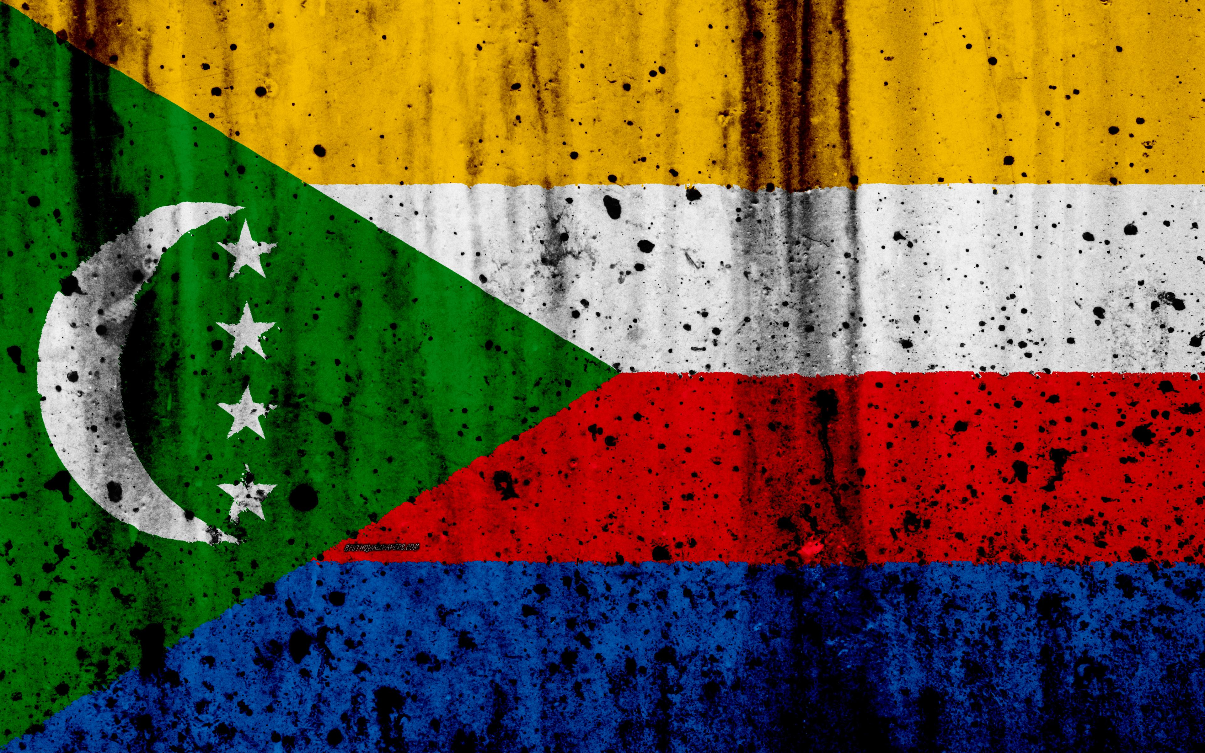 Download wallpapers Comoros flag, 4k, grunge, Comoros of Benin