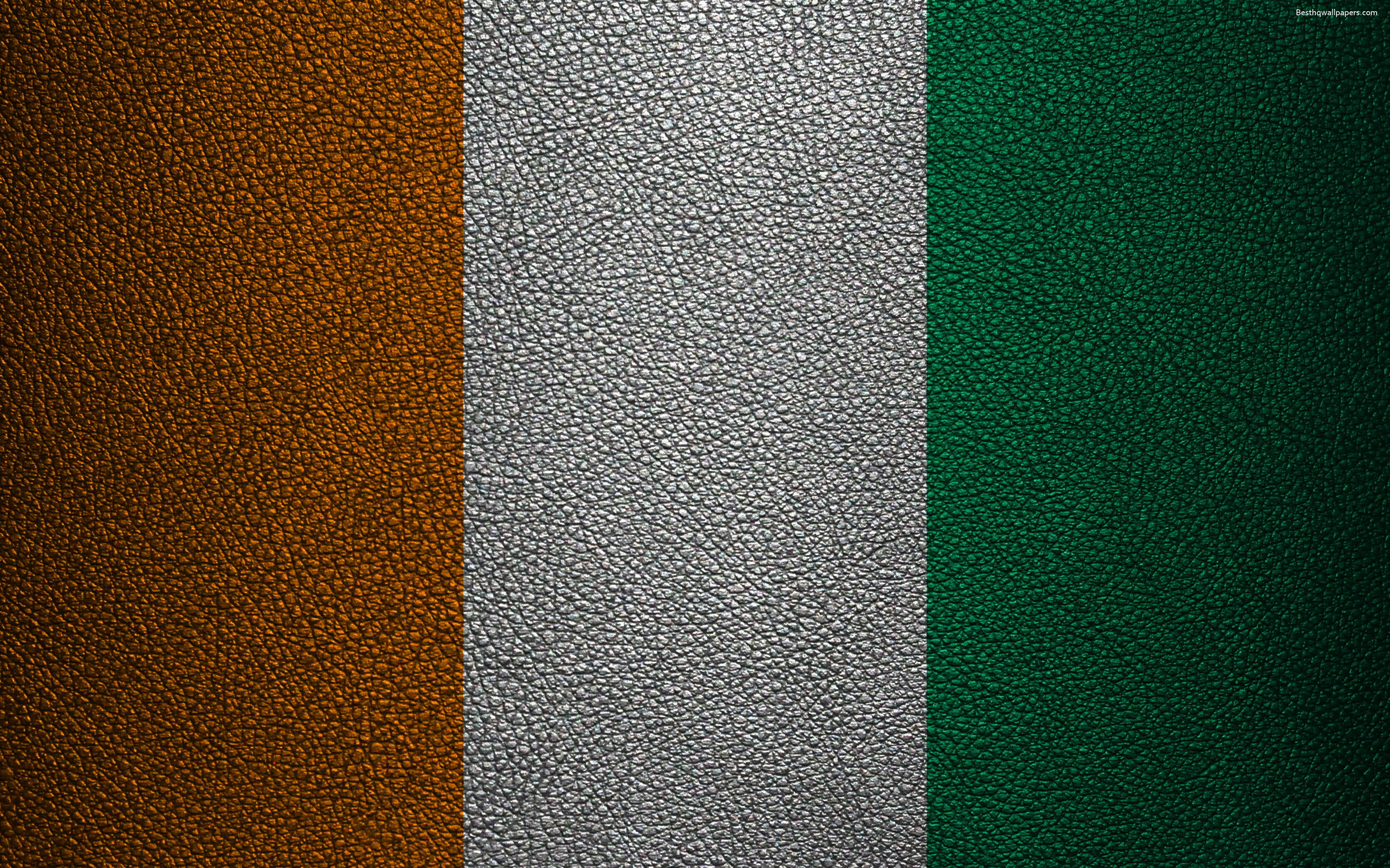 Download wallpapers Flag of Ivory Coast, 4K, leather texture, Africa