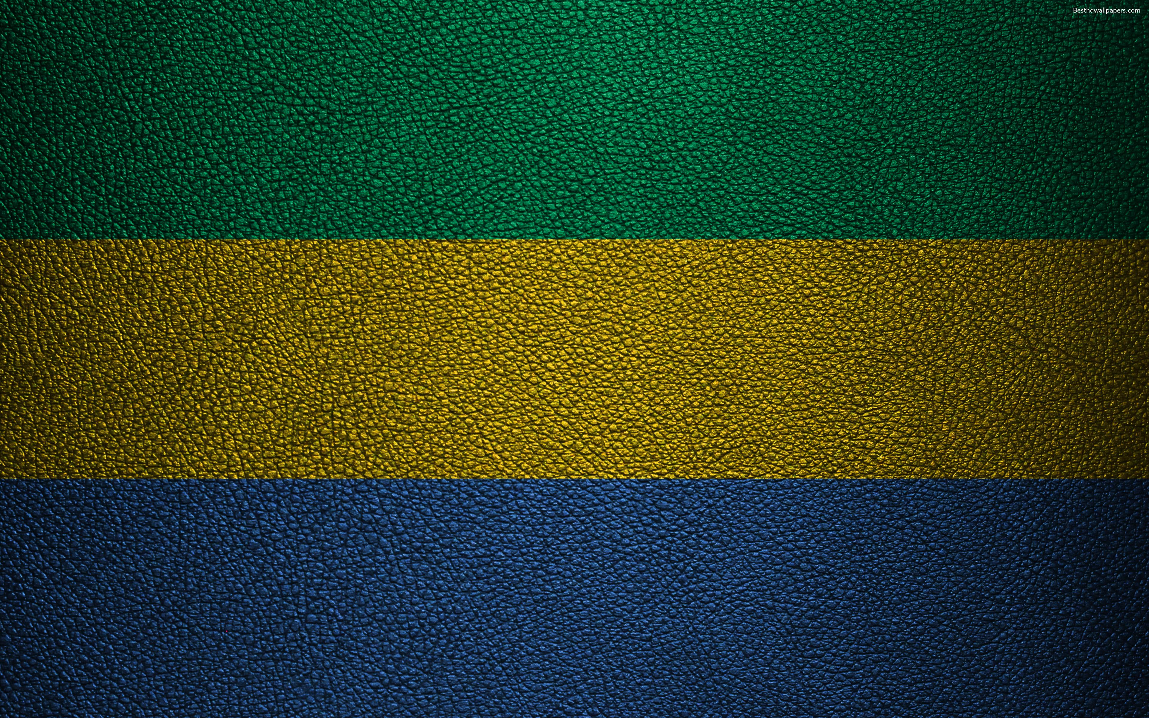 Download wallpapers Flag of Gabon, leather texture, 4k, Gabonese ...