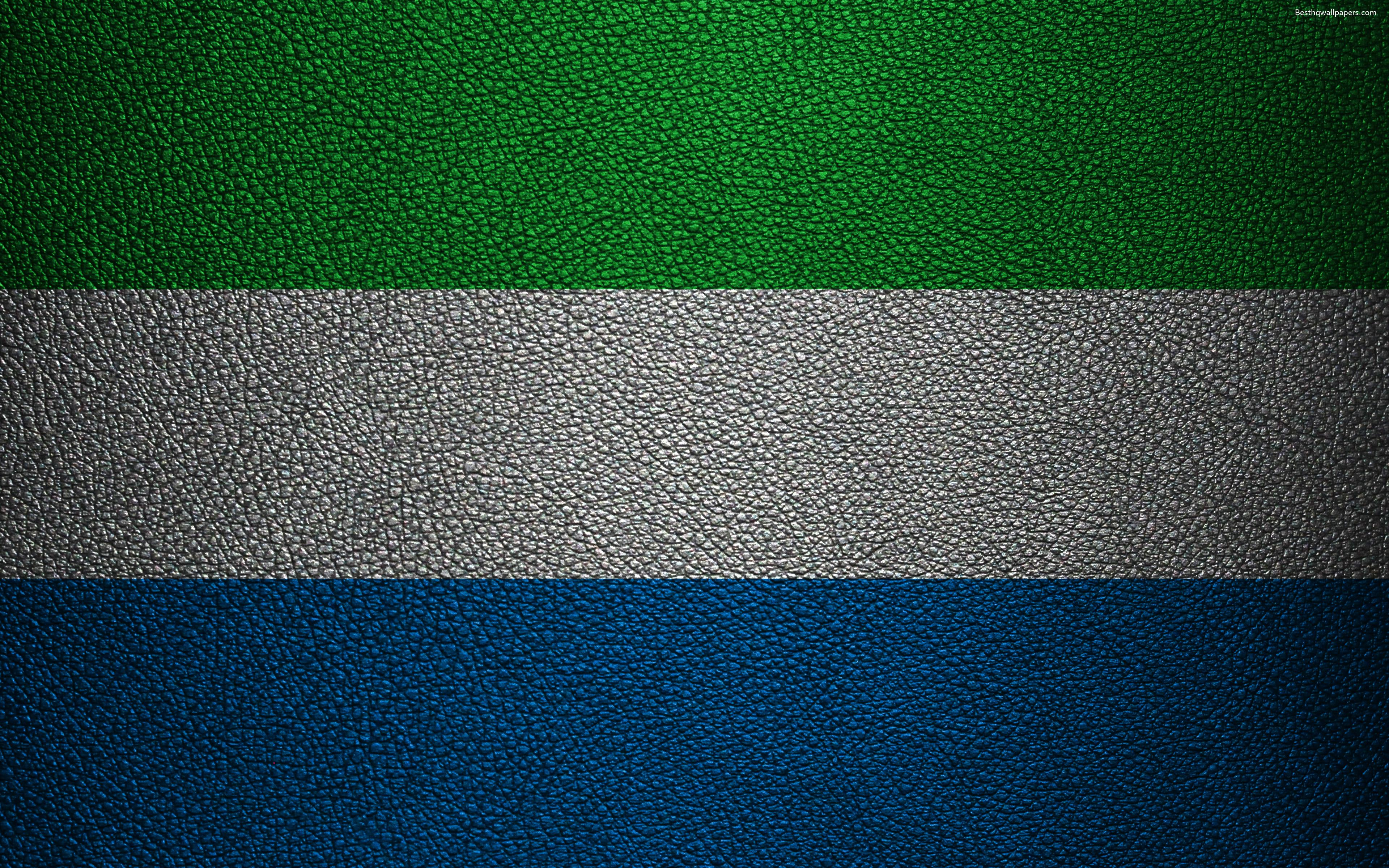 Download wallpapers Flag of Sierra Leone, Africa, 4k, leather ...