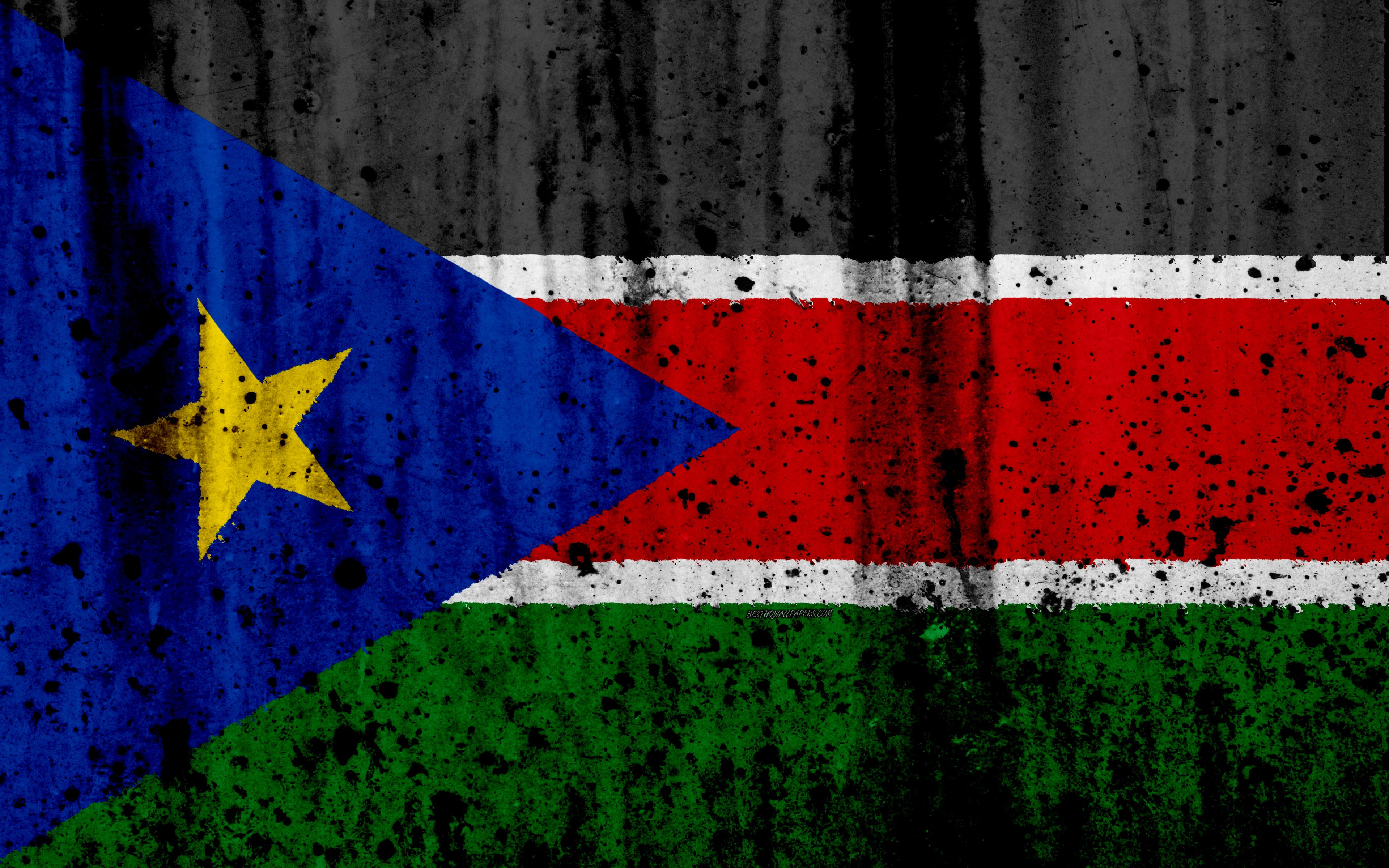 Download wallpapers South Sudan flag, 4k, grunge, flag of South ...
