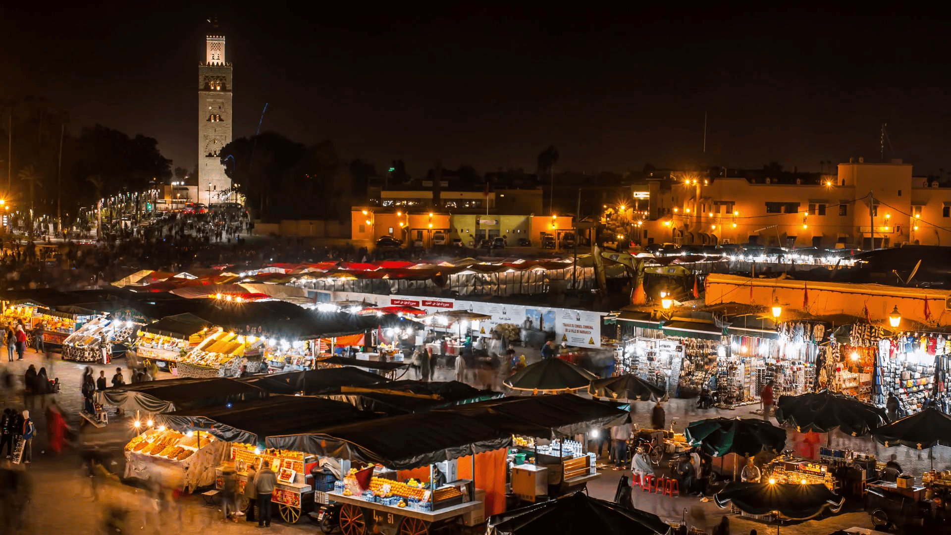 MARRAKECH, MOROCCO timelapse People on Jemaa el Fna square and ...