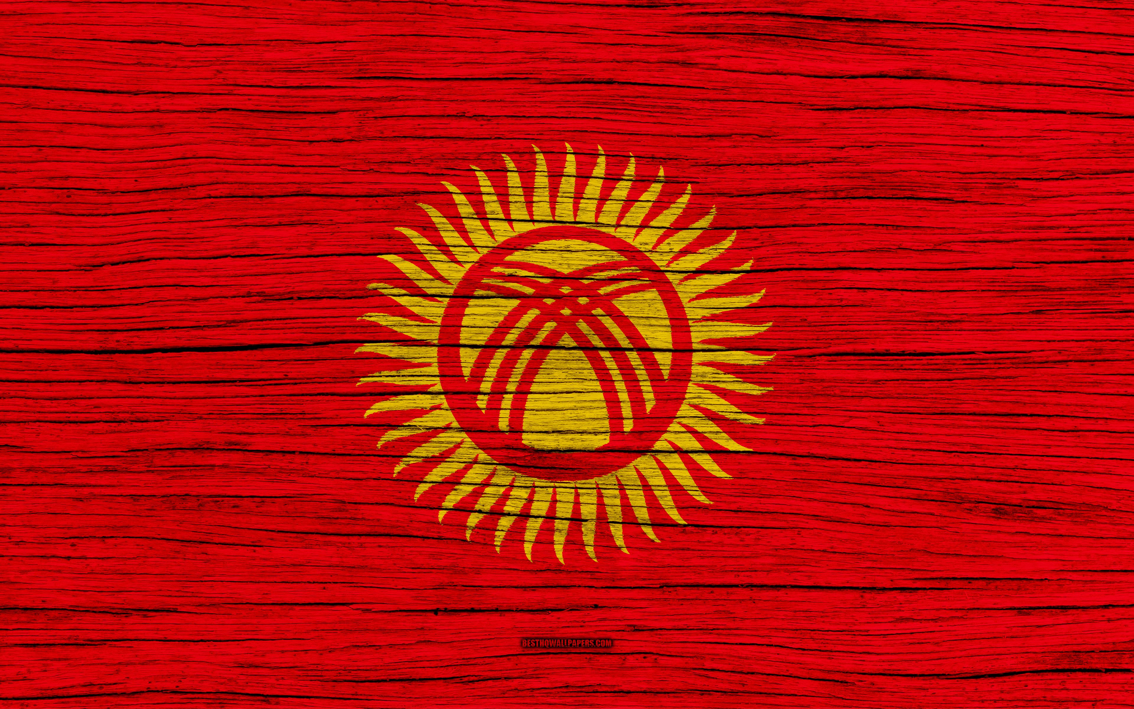Download wallpapers Flag of Kyrgyzstan, 4k, Asia, wooden texture