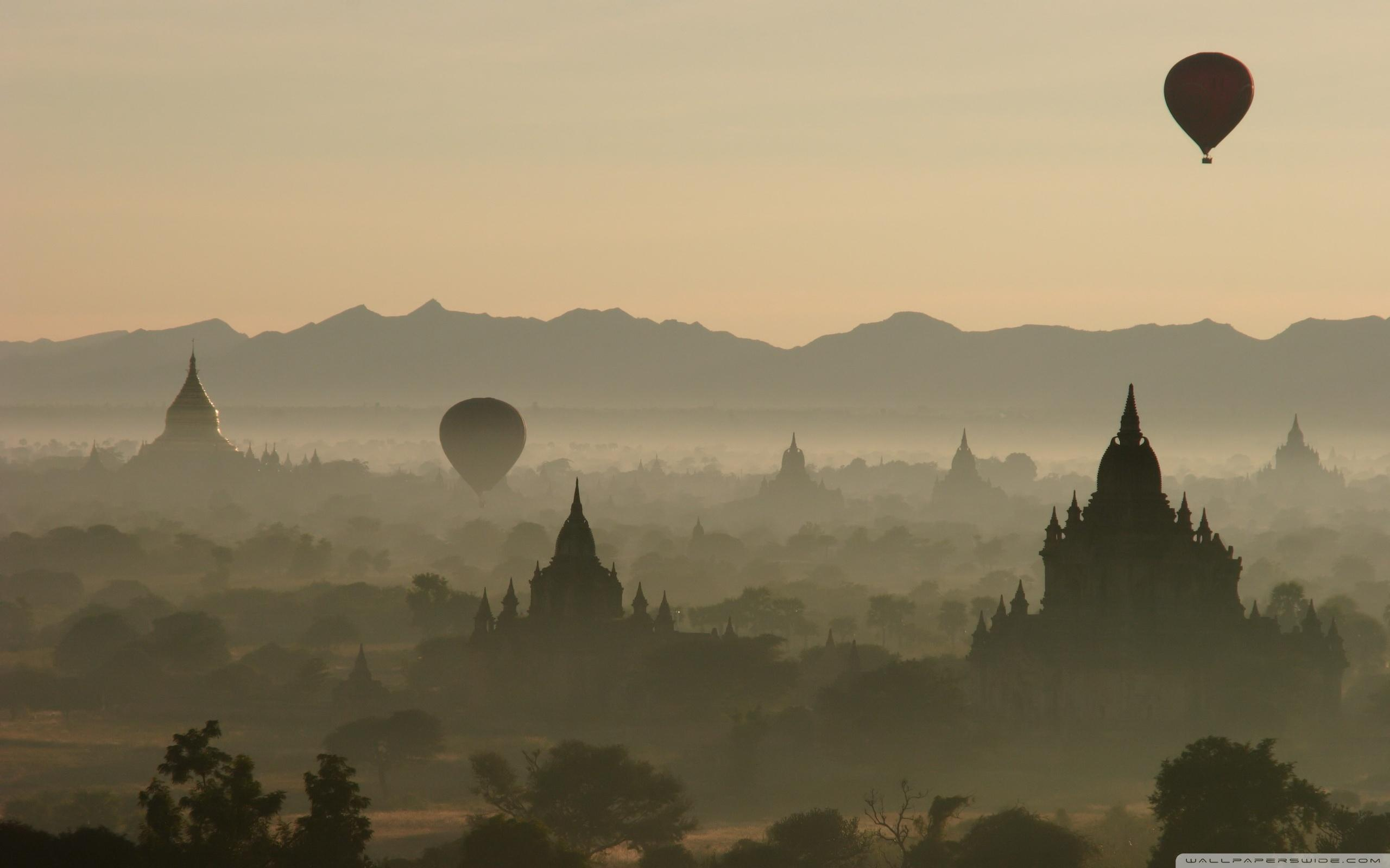 Hot Air Balloons Over North Guni Bagan Myanmar ❤ 4K HD Desktop