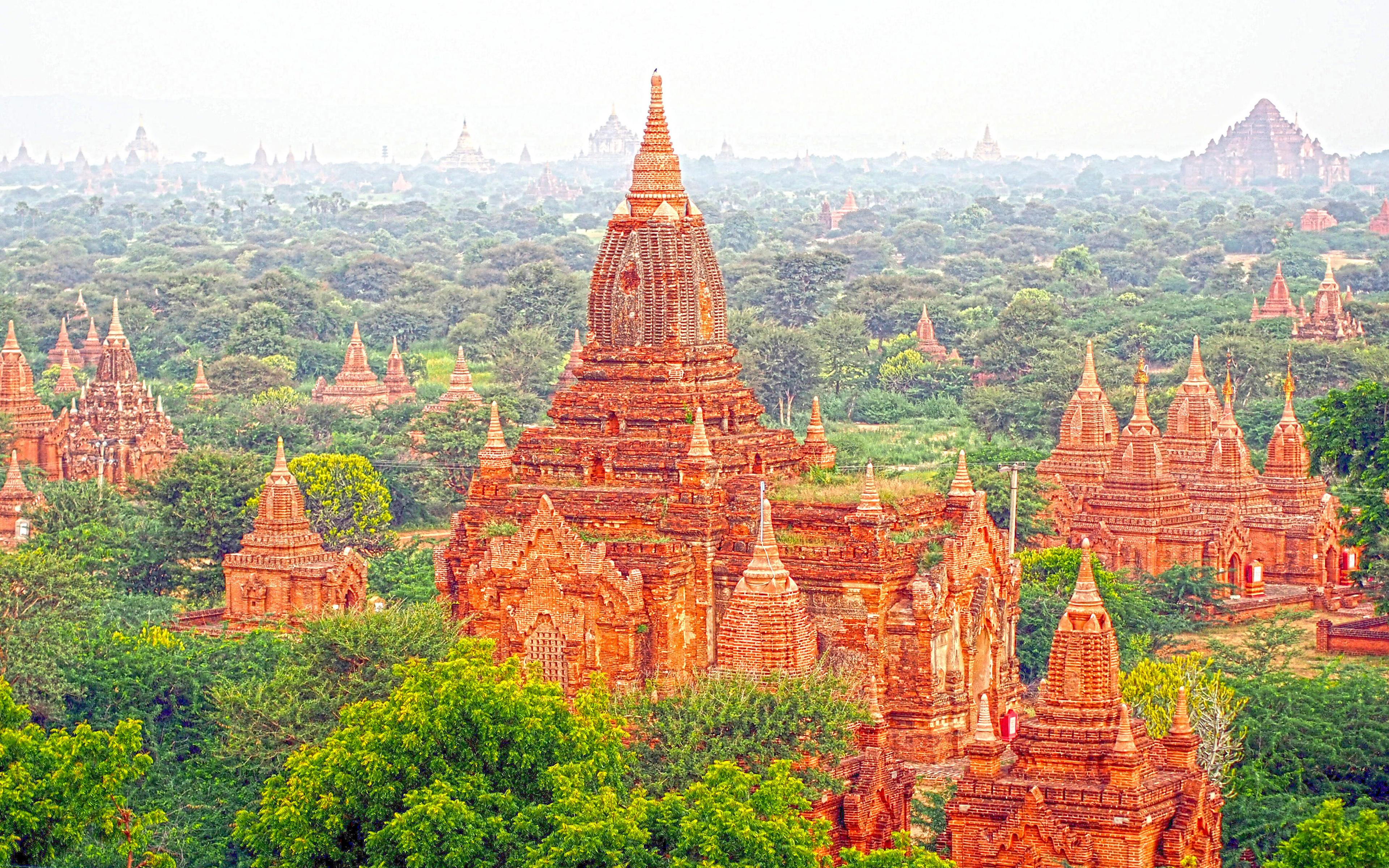 Download wallpapers Bagan, 4k, temples, ancient city, Burma, Myanmar