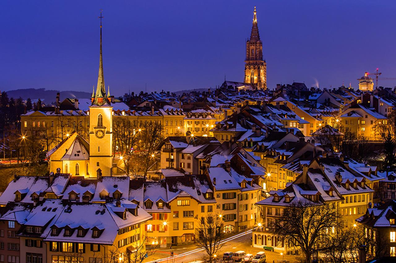 Images Bern Switzerland Winter Night Street lights Cities Houses