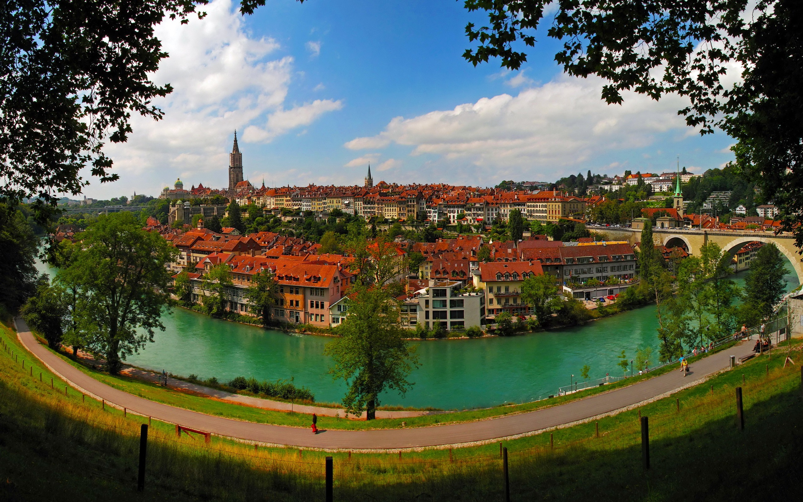 Wallpaper Bern, Switzerland, city, river, houses, road, bridge ...