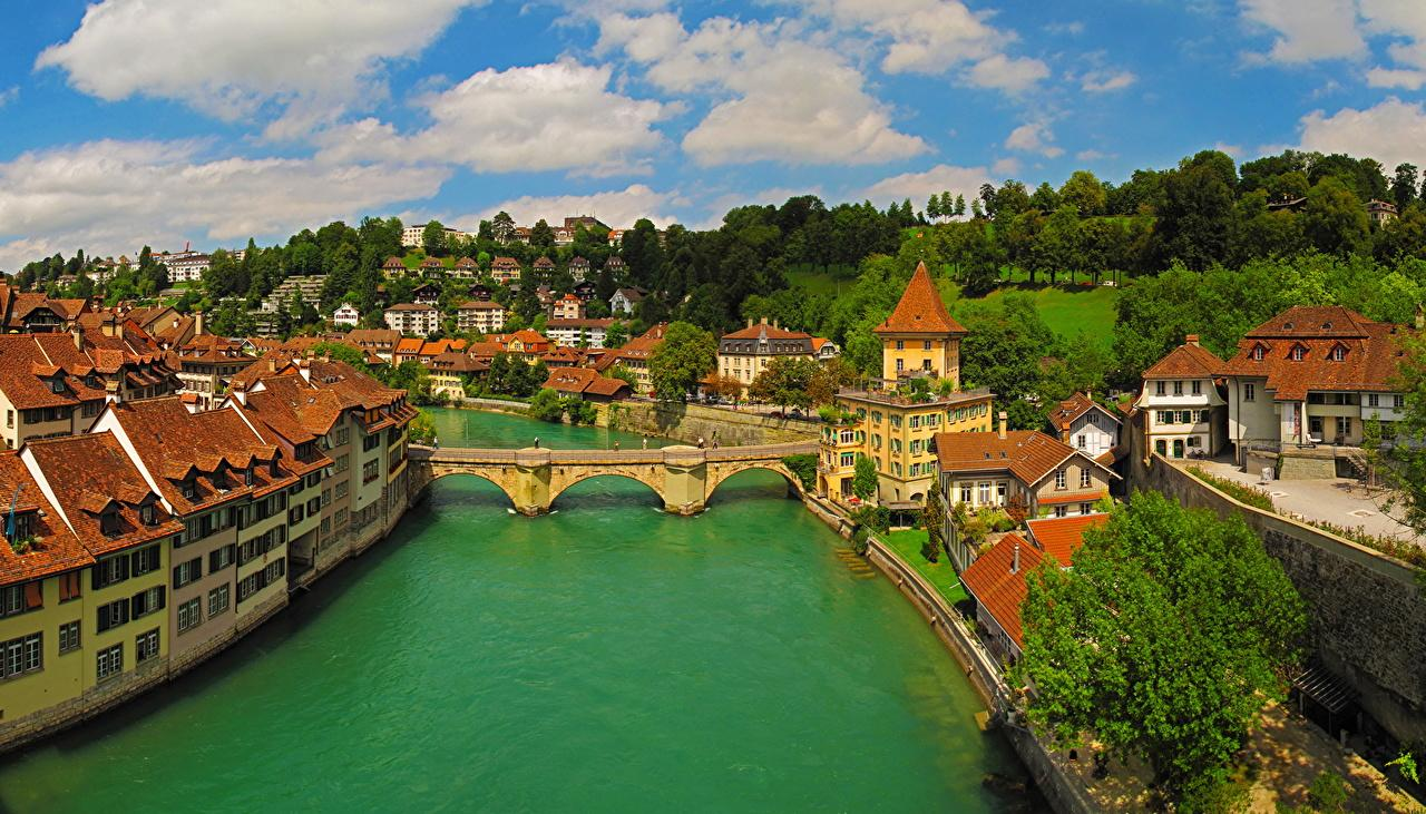 Photo Switzerland Bern Bridges Rivers Cities Houses