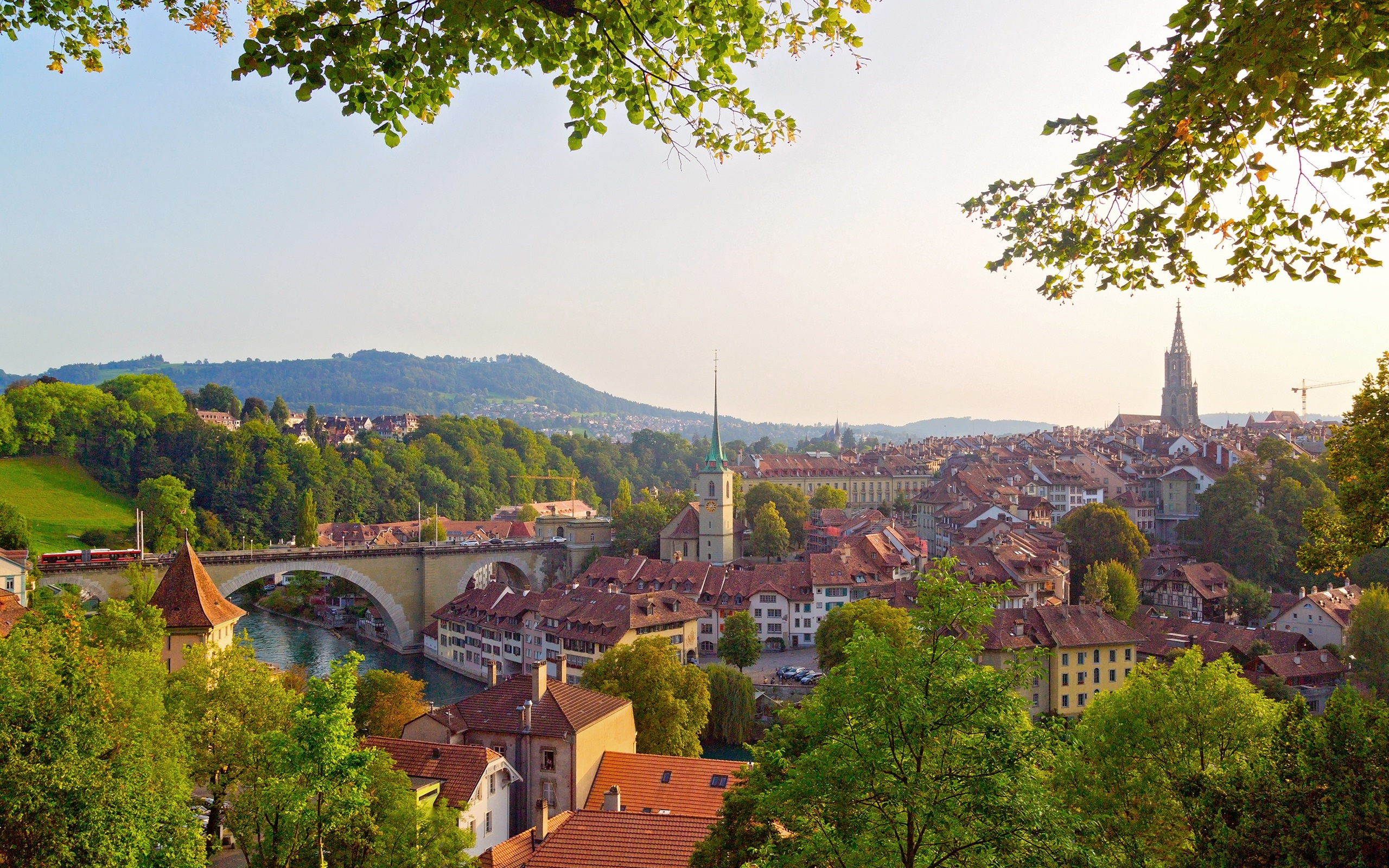 Wallpaper Bern, Switzerland, city, river, bridge, trees, houses ...