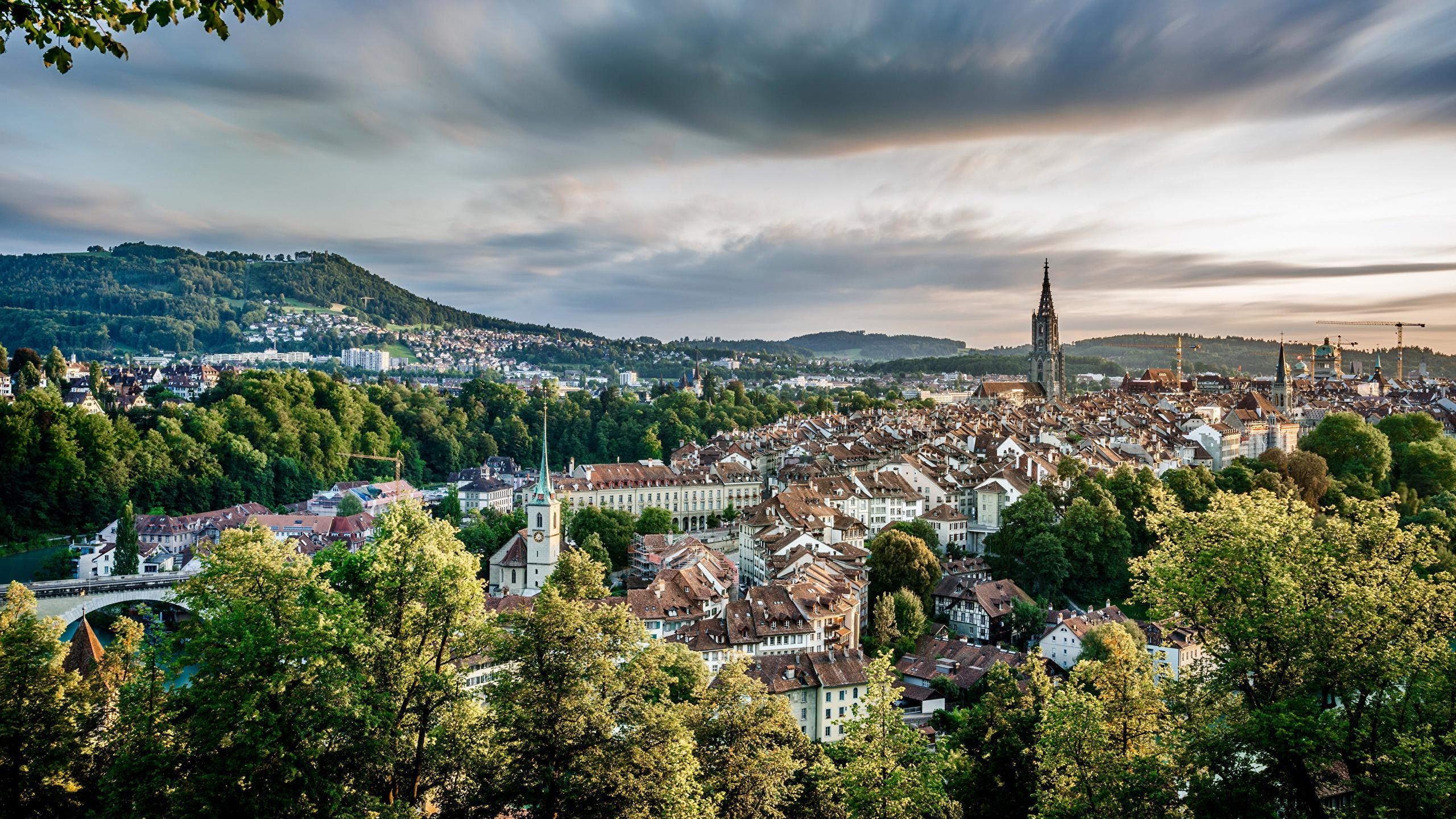 Photo Bern Switzerland Sky Cities Houses 2560x1440