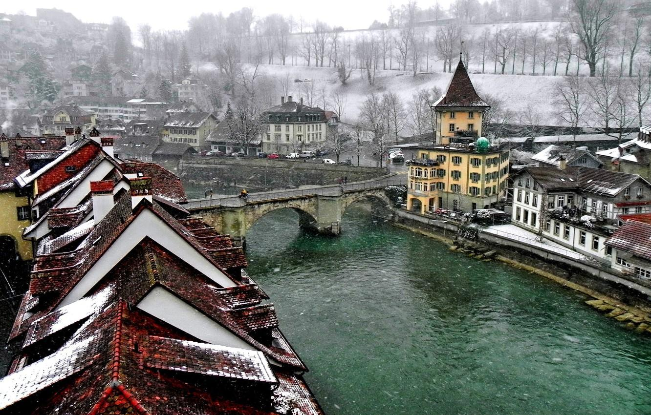 Wallpaper winter, bridge, the city, river, Switzerland, roof ...
