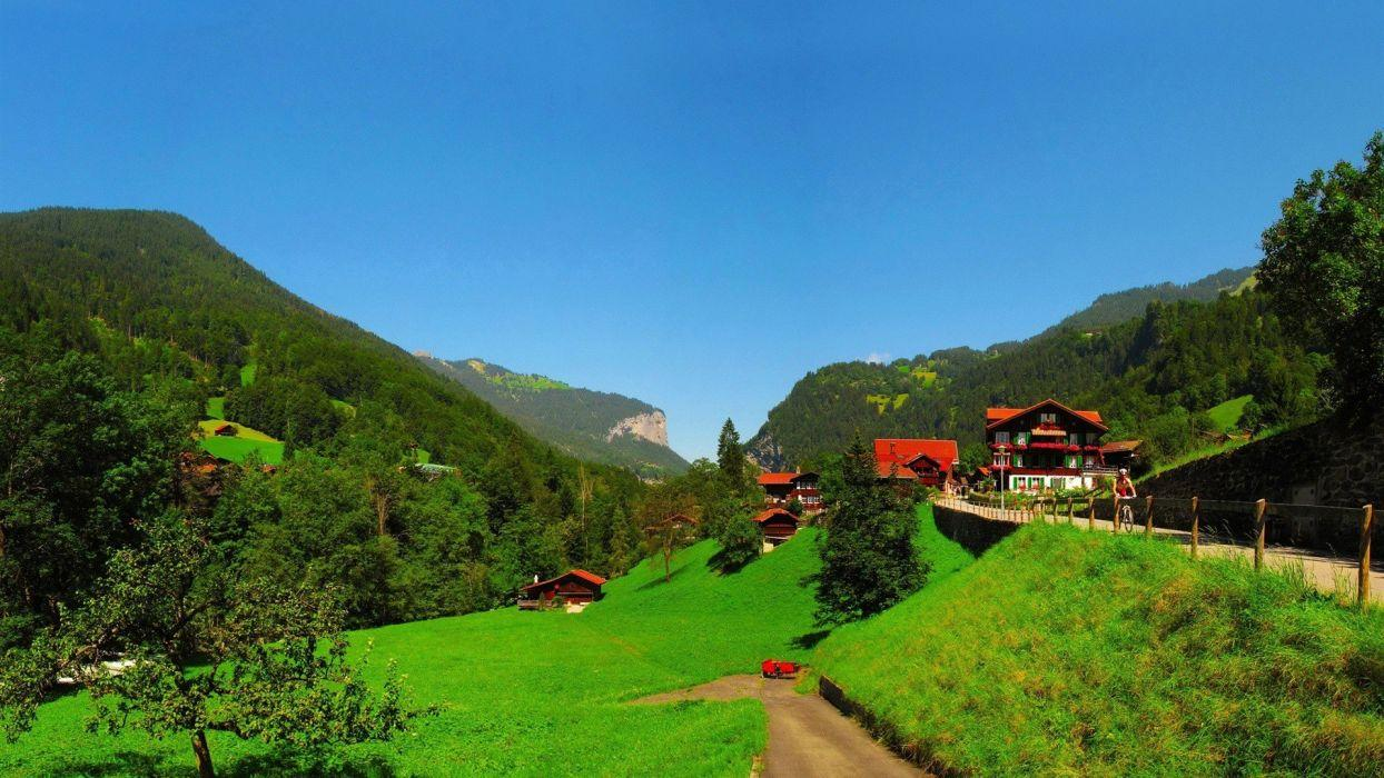 Mountains landscapes nature trees houses Switzerland Bern ...
