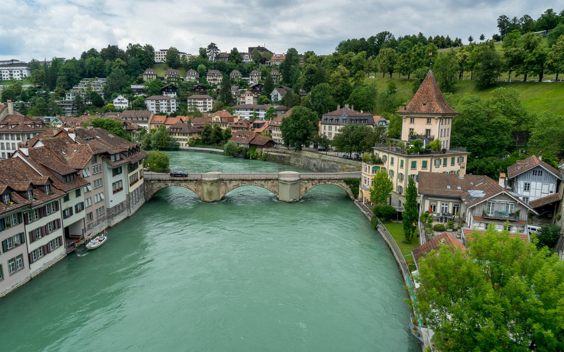 Wallpaper Bern, Switzerland, river, bridge, houses 1920x1200 HD ...