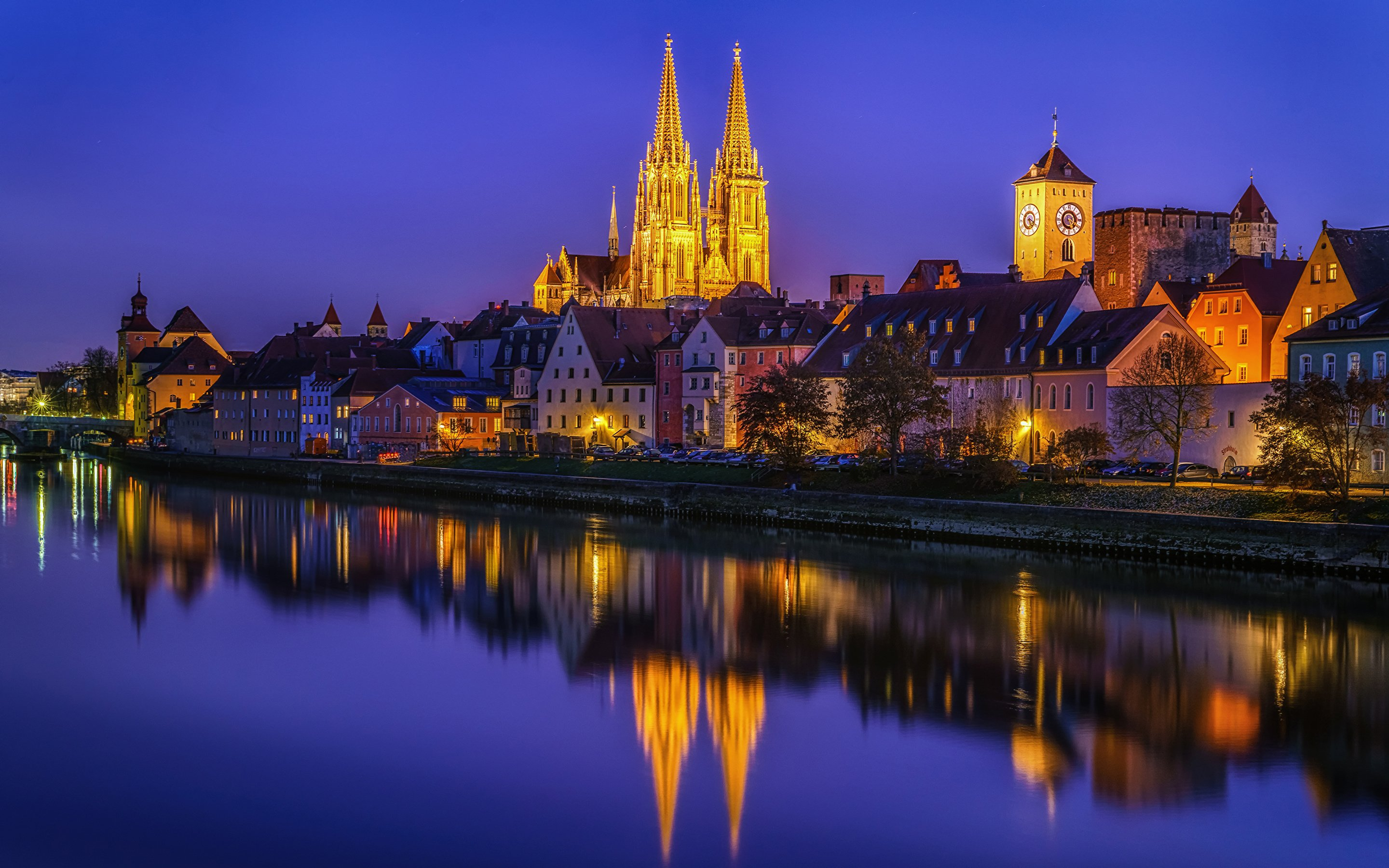 Images Germany Regensburg Street Night Coast Rivers Cities 2880x1800