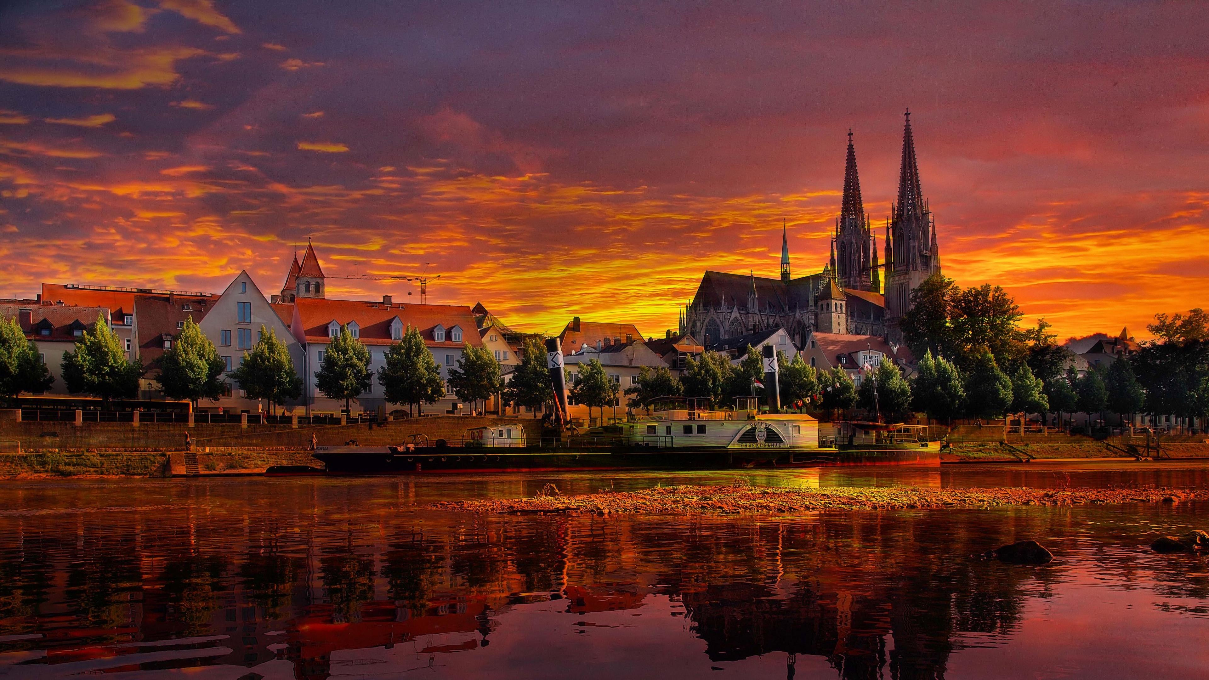 Download wallpaper 3840x2160 regensburg, germany, sunset, cityscape ...