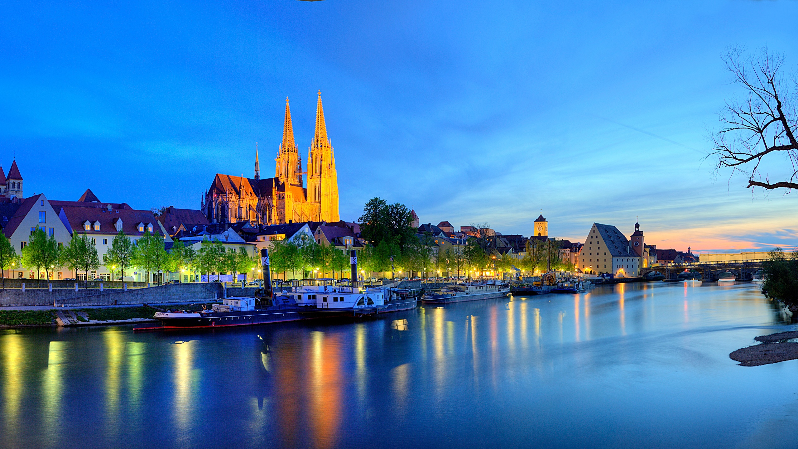 Picture Bavaria Germany Regensburg Night Rivers Cities 2560x1440