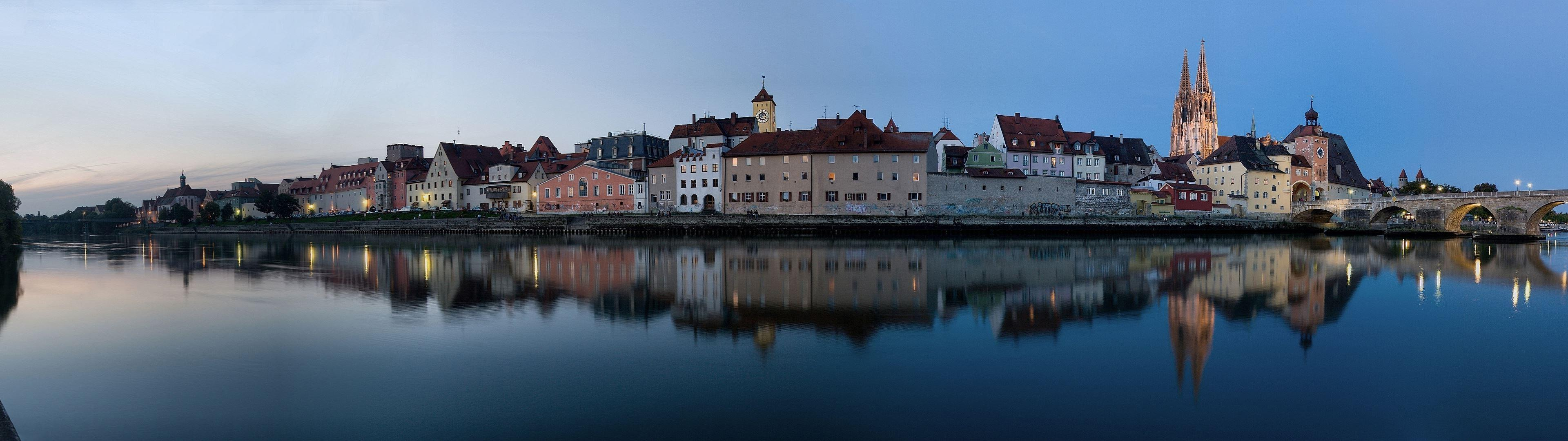 Regensburg, Germany, City, Reflection, River, Sunset, Multiple ...