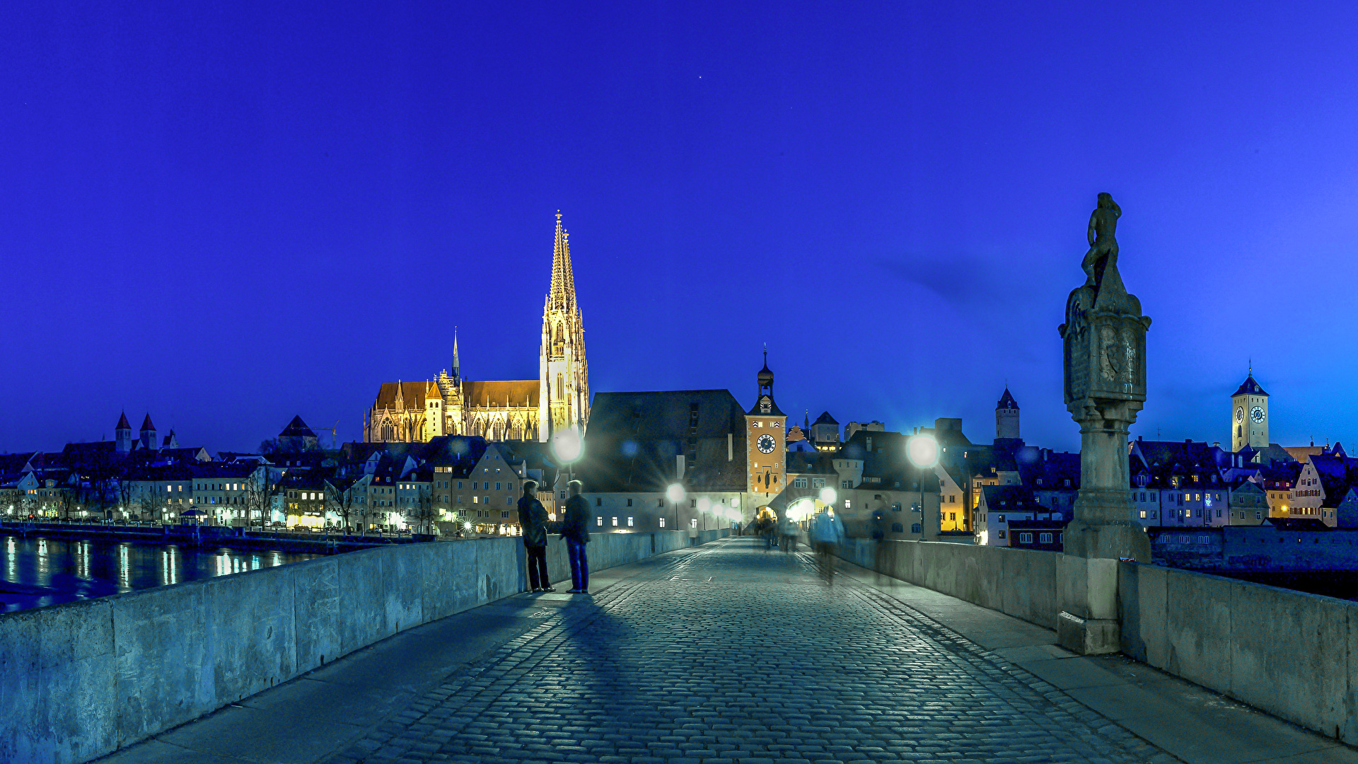Wallpapers Germany Regensburg Bridges Night Street lights 1920x1080