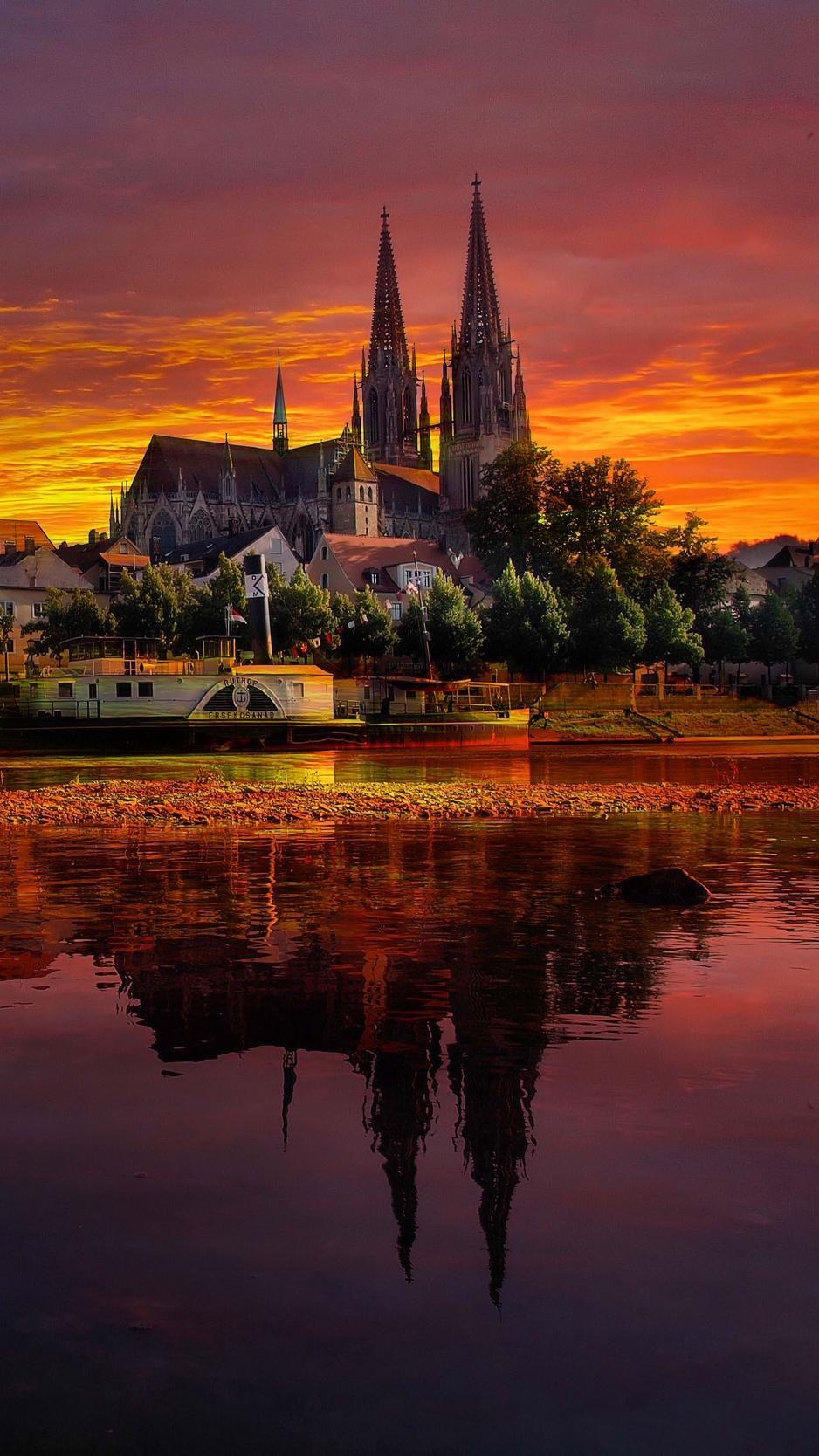 Download wallpaper 938x1668 regensburg, germany, sunset, cityscape ...