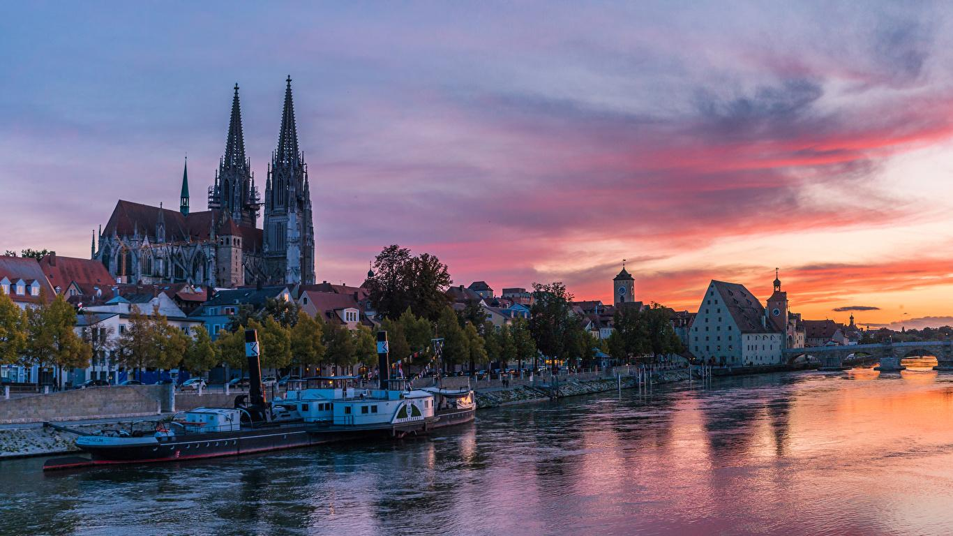 Images Germany Regensburg Riverboat Rivers Evening Marinas 1366x768