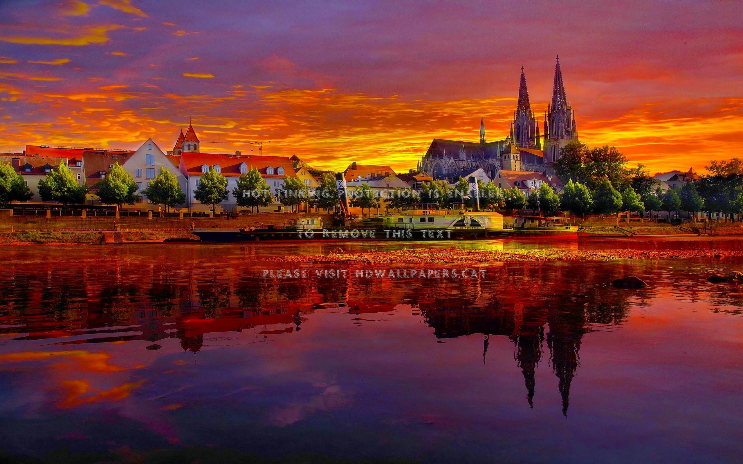 germany at dusk regensburg cityscape sunset